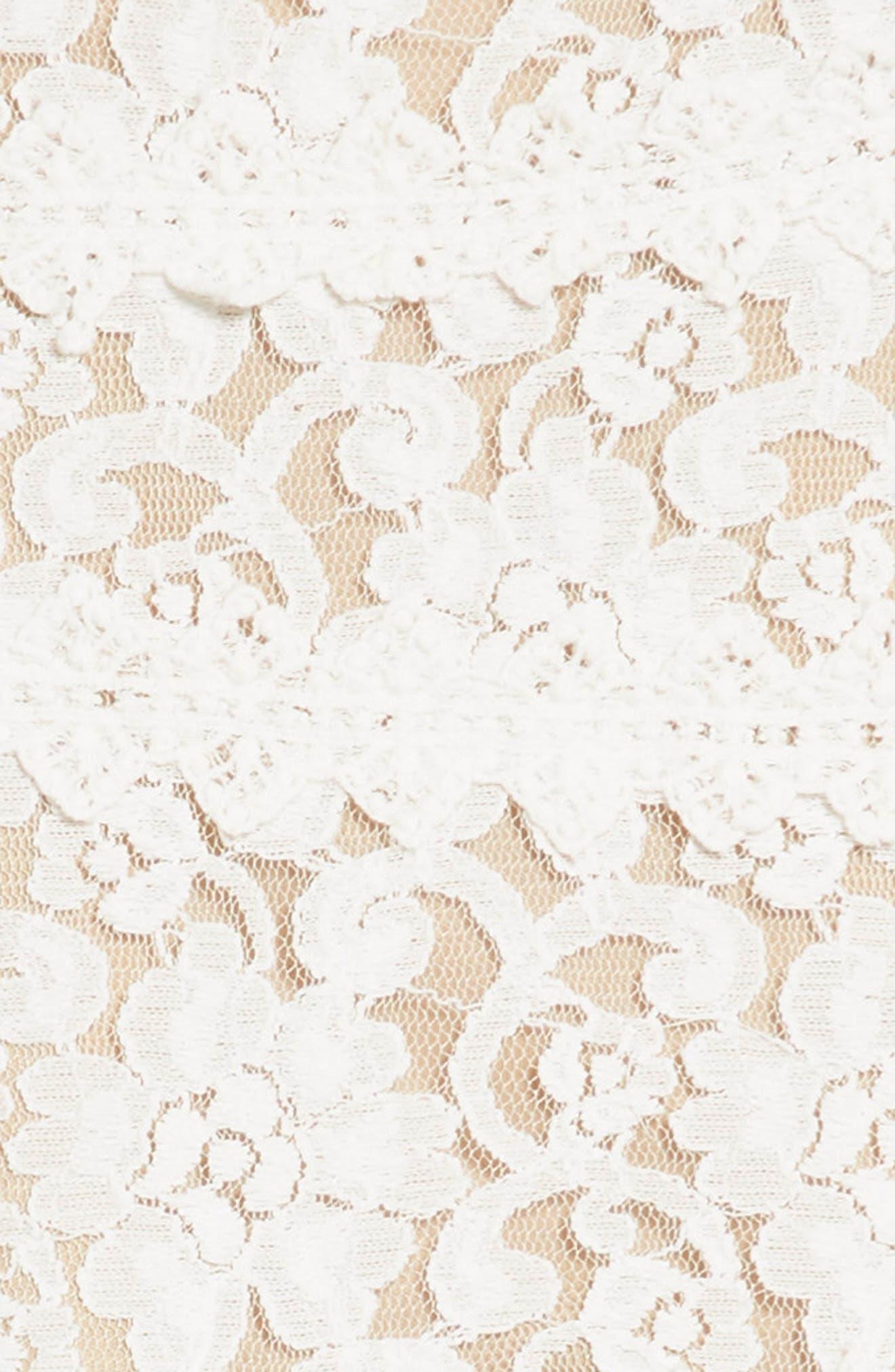Two Tone Lace Skater Dress,                             Alternate thumbnail 3, color,                             Ivory/ Tan
