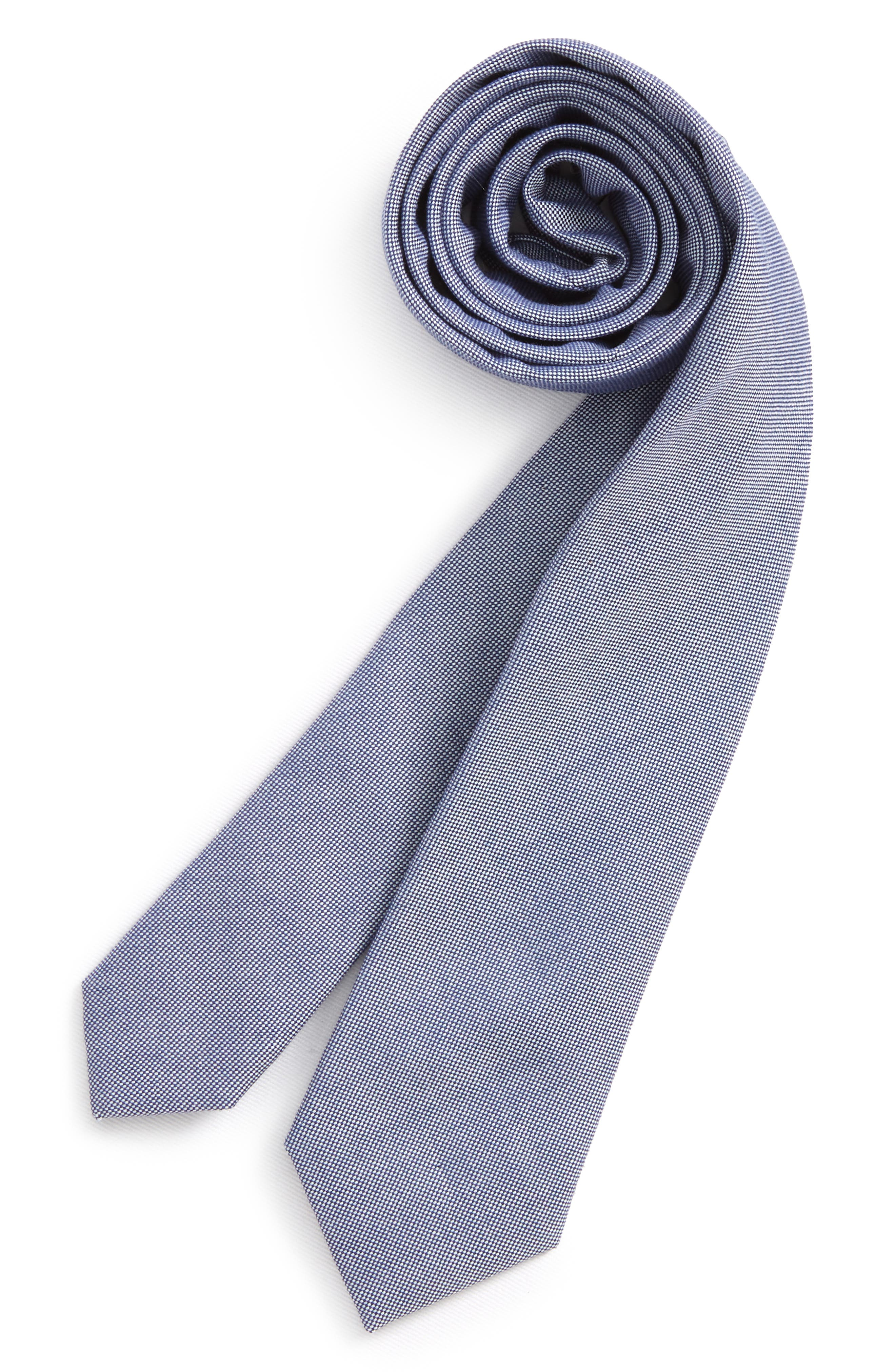 Chambray Solid Silk Tie,                         Main,                         color, Navy