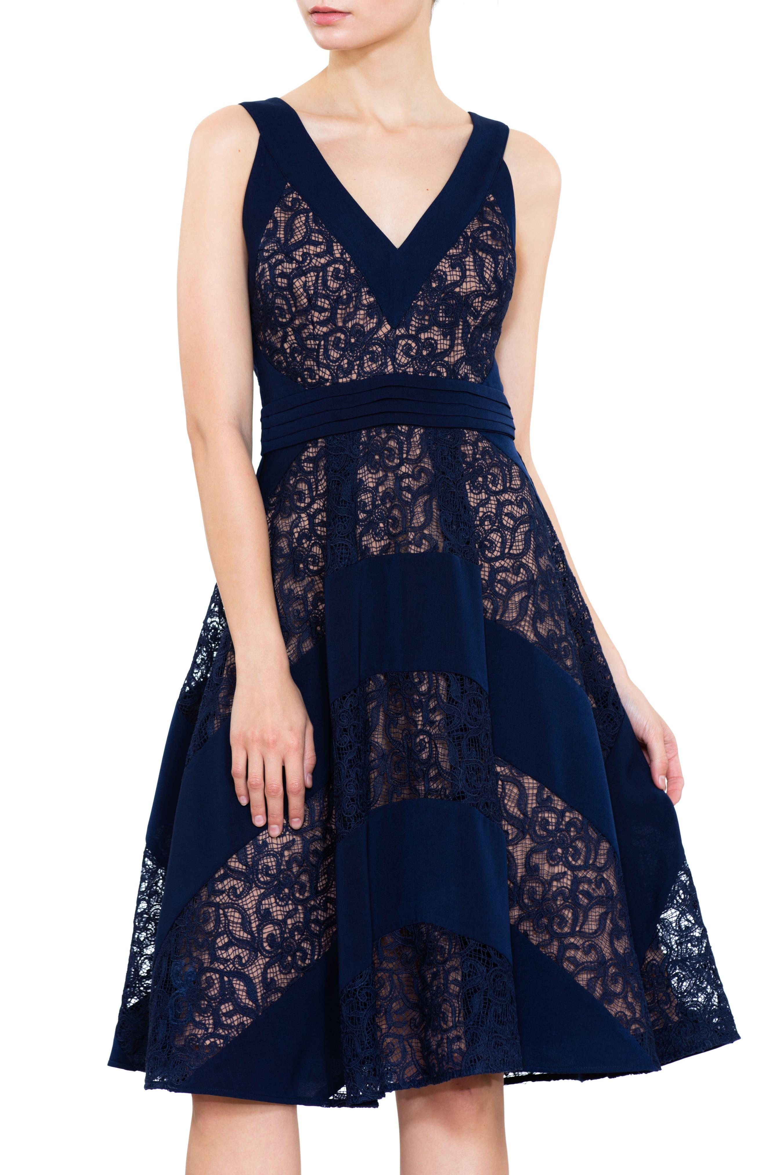 Mixed Lace Fit & Flare Dress,                             Alternate thumbnail 4, color,                             Navy