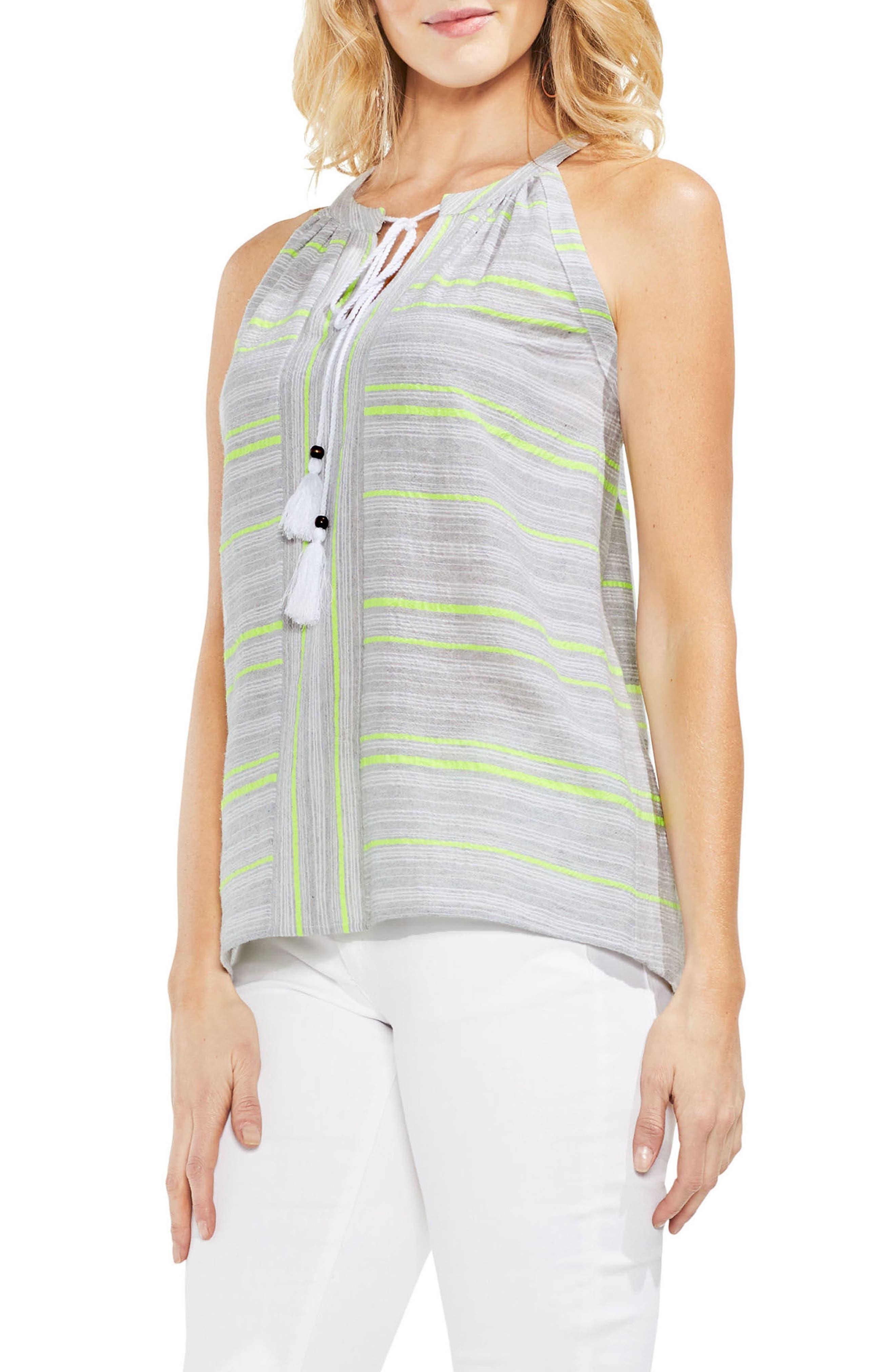 Cotton Blend Gauze Halter Top,                         Main,                         color, Island Lime