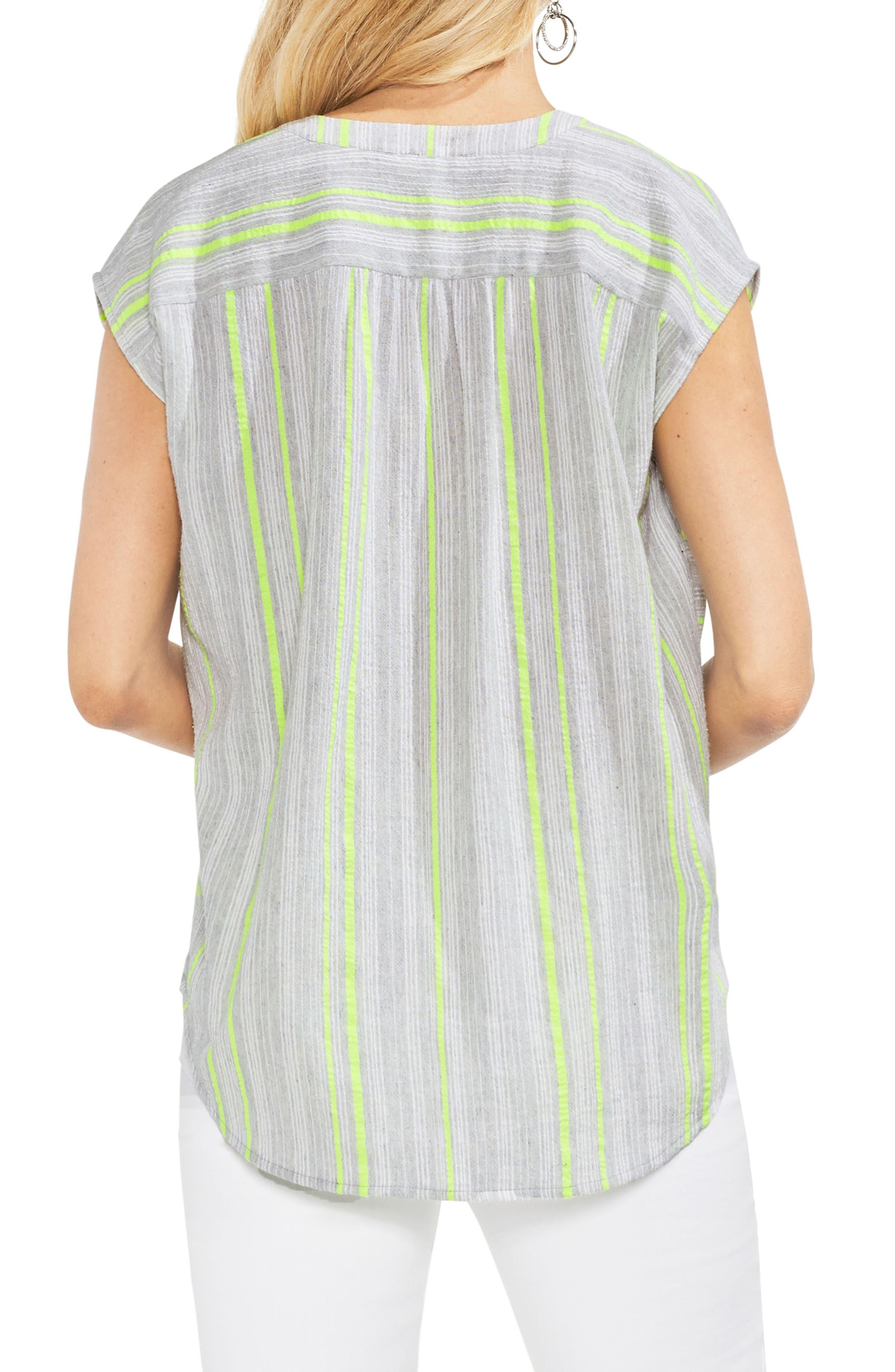 Cotton Blend Stripe Henley Top,                             Alternate thumbnail 2, color,                             Island Lime