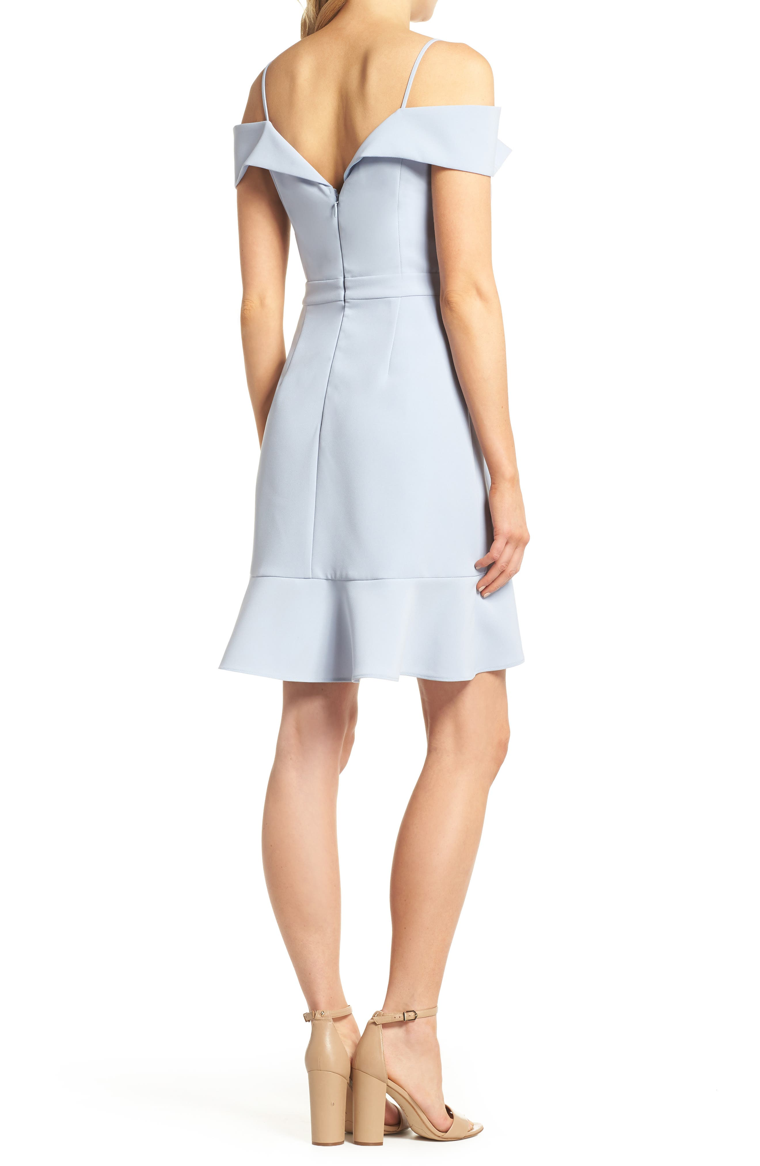 Cold Shoulder Ruffle Sheath Dress,                             Alternate thumbnail 2, color,                             Sky Blue
