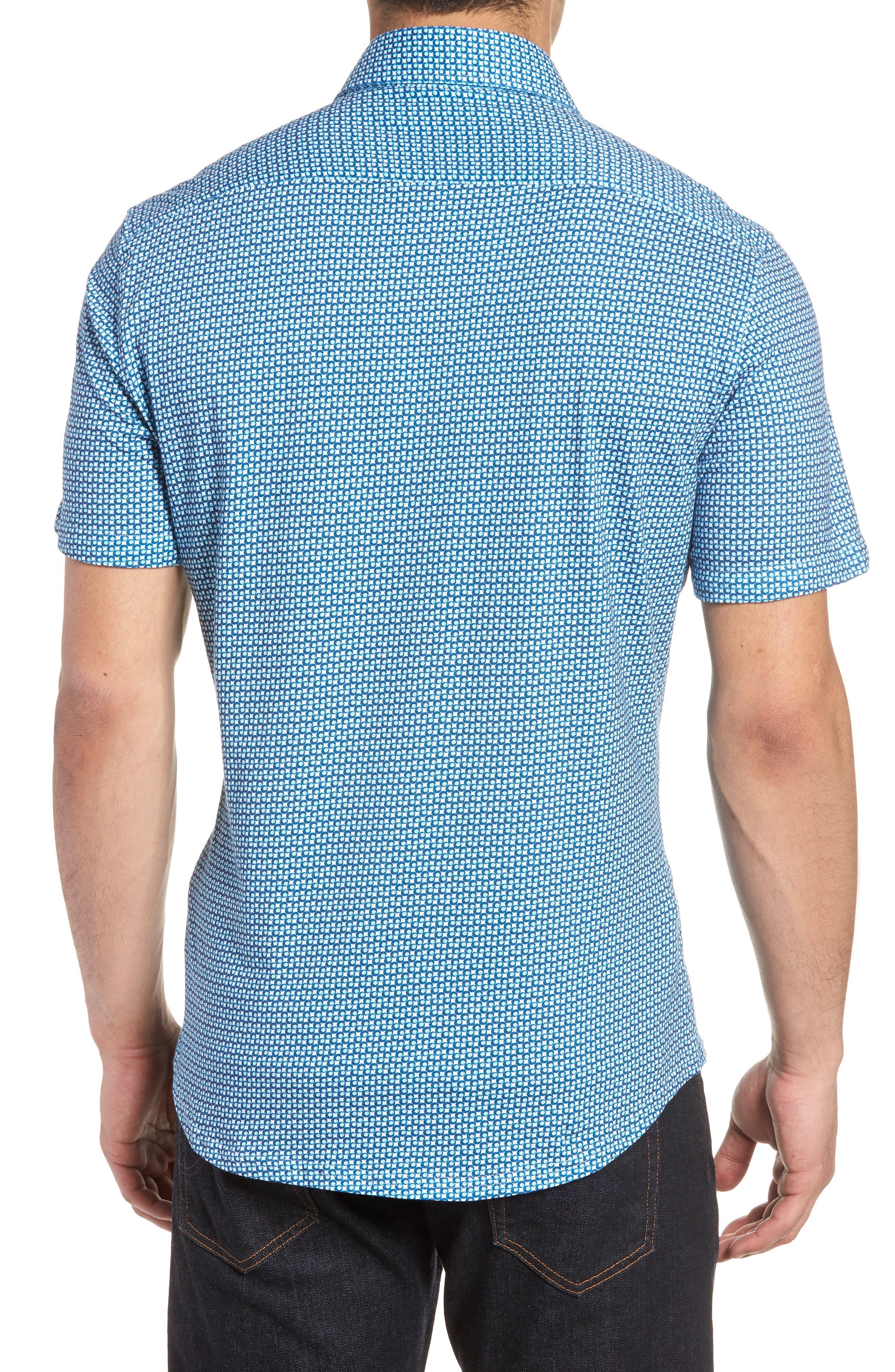 Trim Fit Circle Geo Print Sport Shirt,                             Alternate thumbnail 3, color,                             Navy