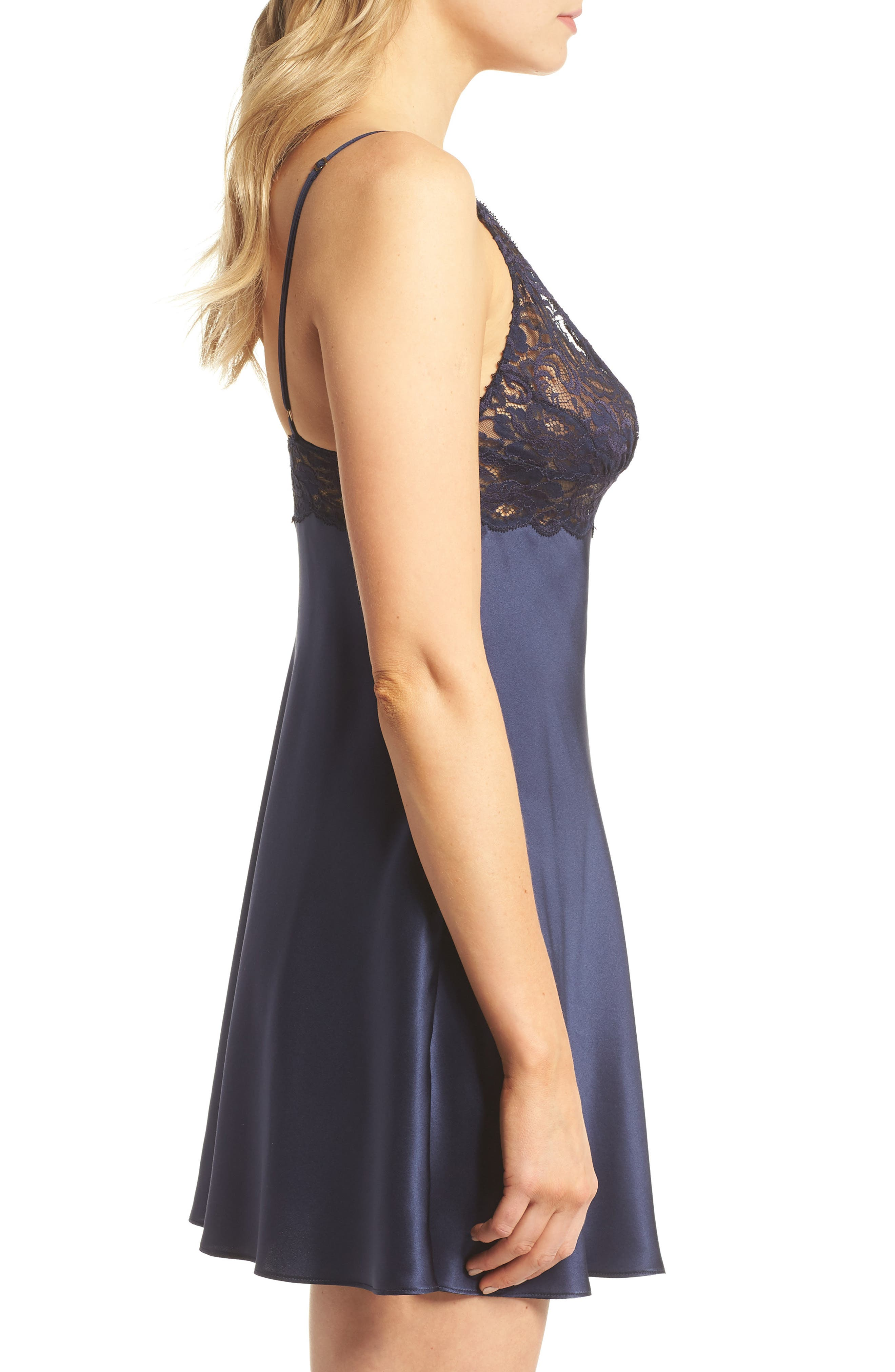 Lace Trim Silk Chemise,                             Alternate thumbnail 3, color,                             Midnight / Midnight