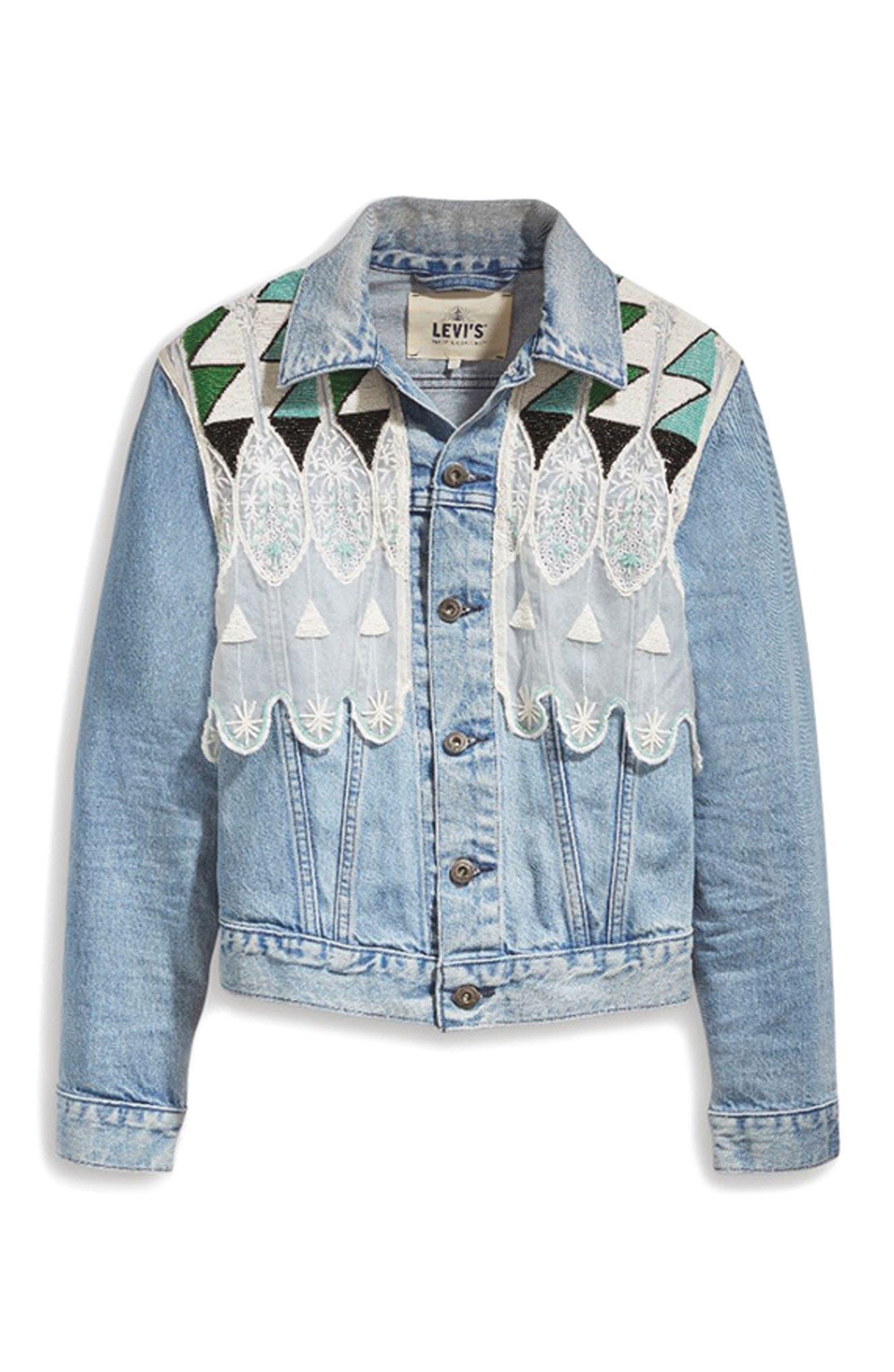 Embellished Boyfriend Trucker Jacket,                             Alternate thumbnail 6, color,