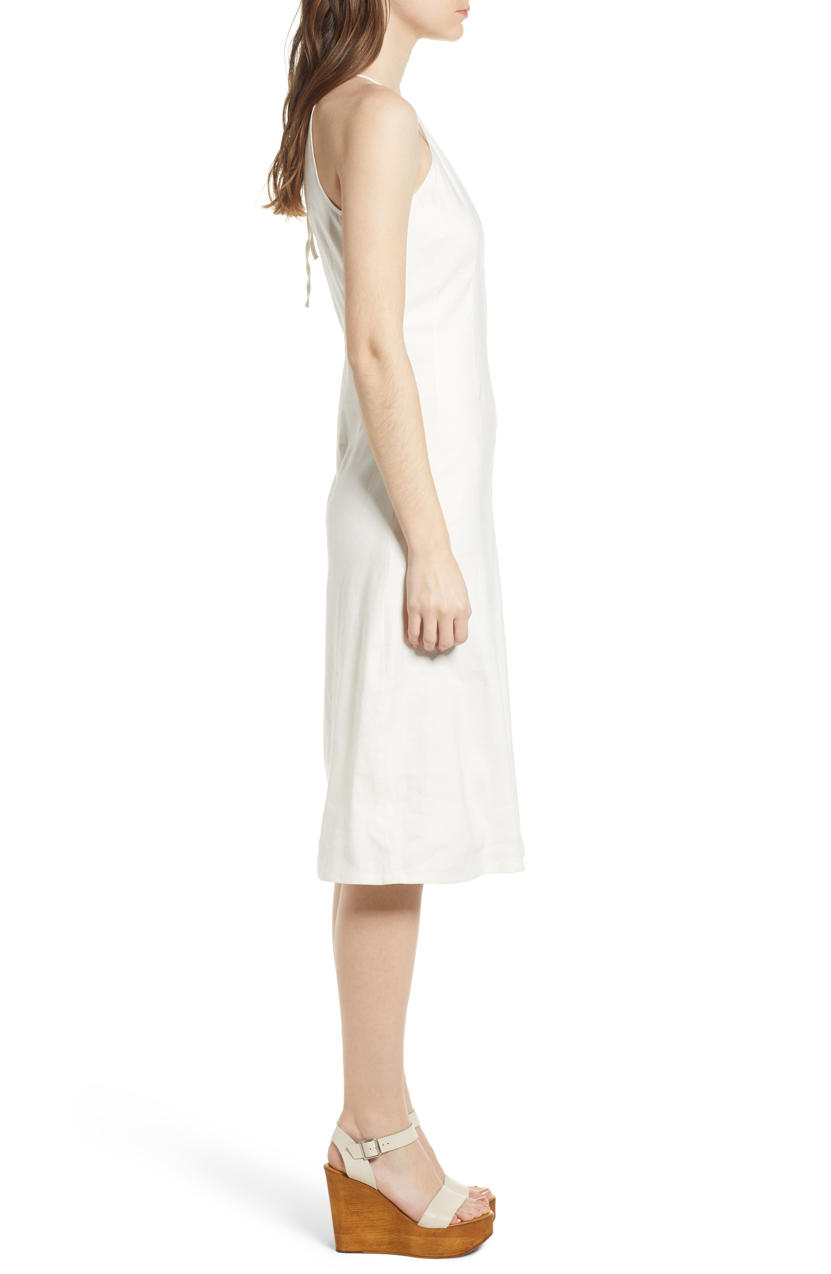 Halter Midi Dress,                             Alternate thumbnail 3, color,                             Ivory