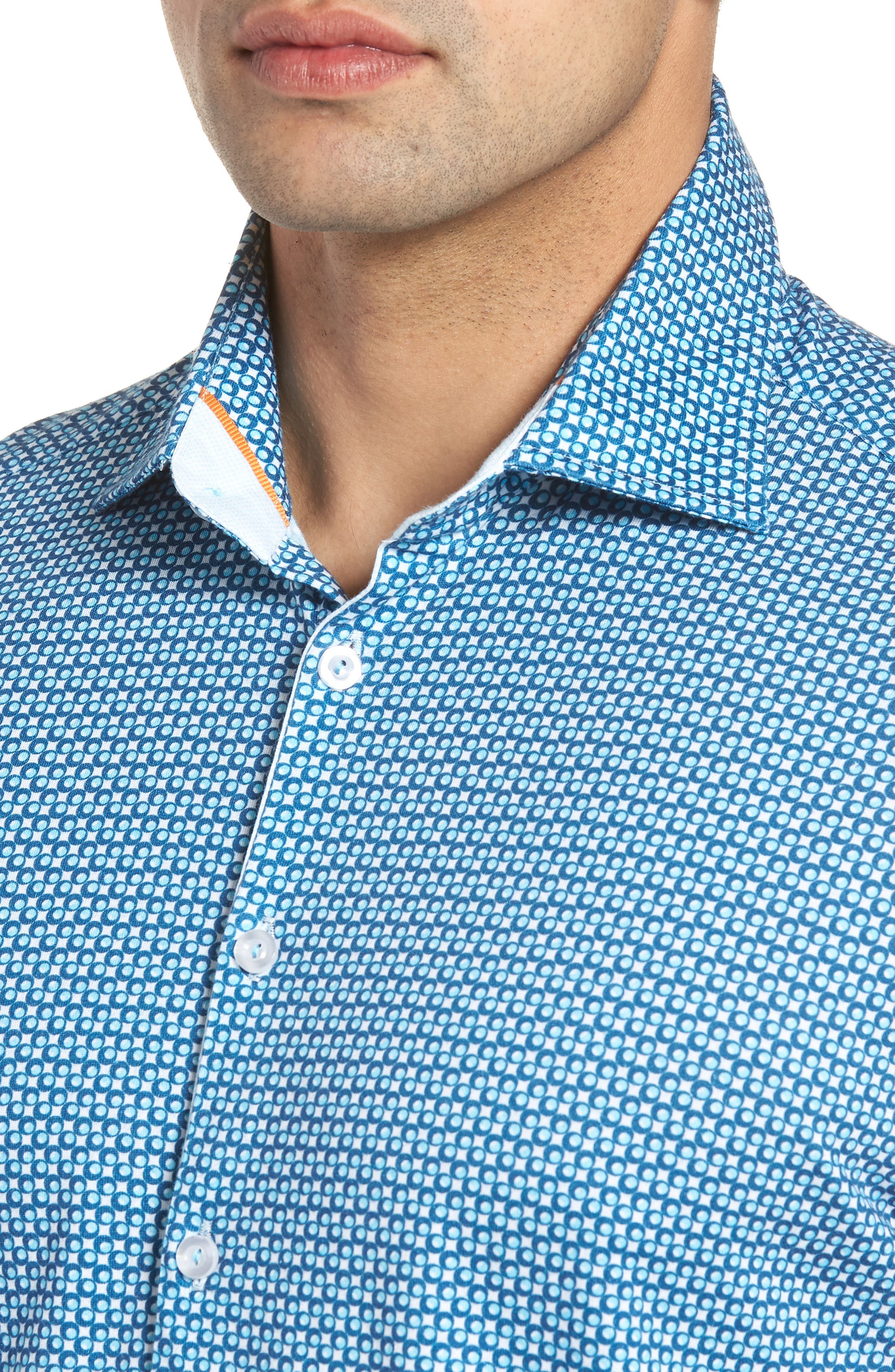 Trim Fit Circle Geo Print Sport Shirt,                             Alternate thumbnail 2, color,                             Navy