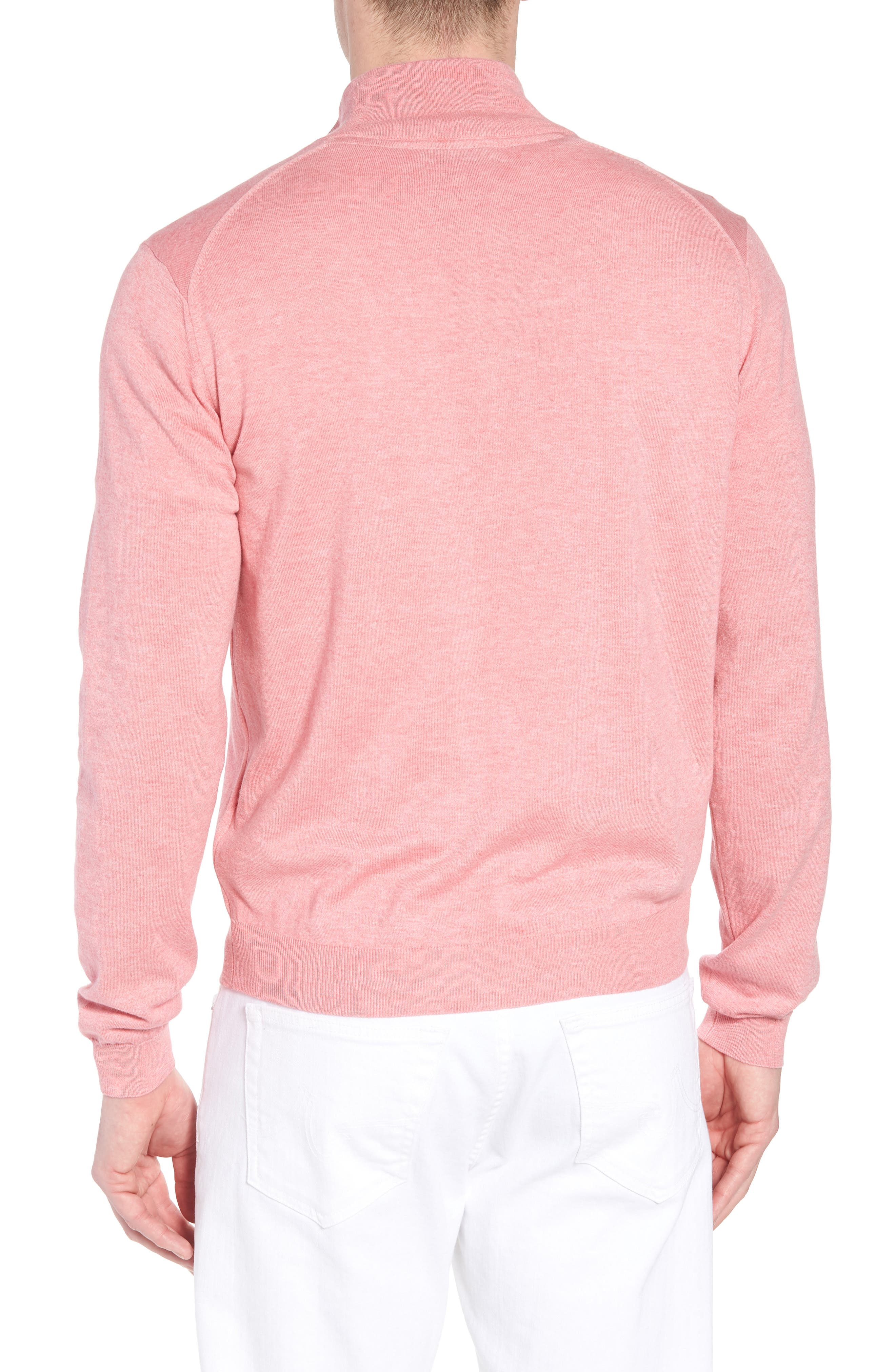 Cotton & Silk Quarter Zip Pullover,                             Alternate thumbnail 2, color,                             Pink