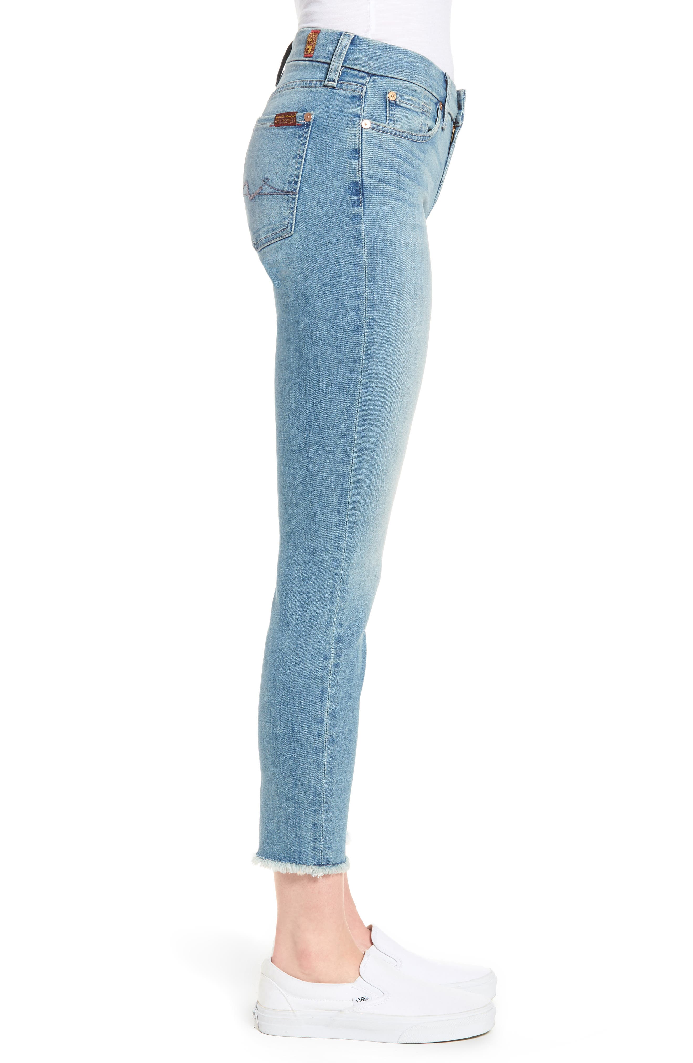 Kimmie Crop Straight Leg Jeans,                             Alternate thumbnail 3, color,                             Desert Heights