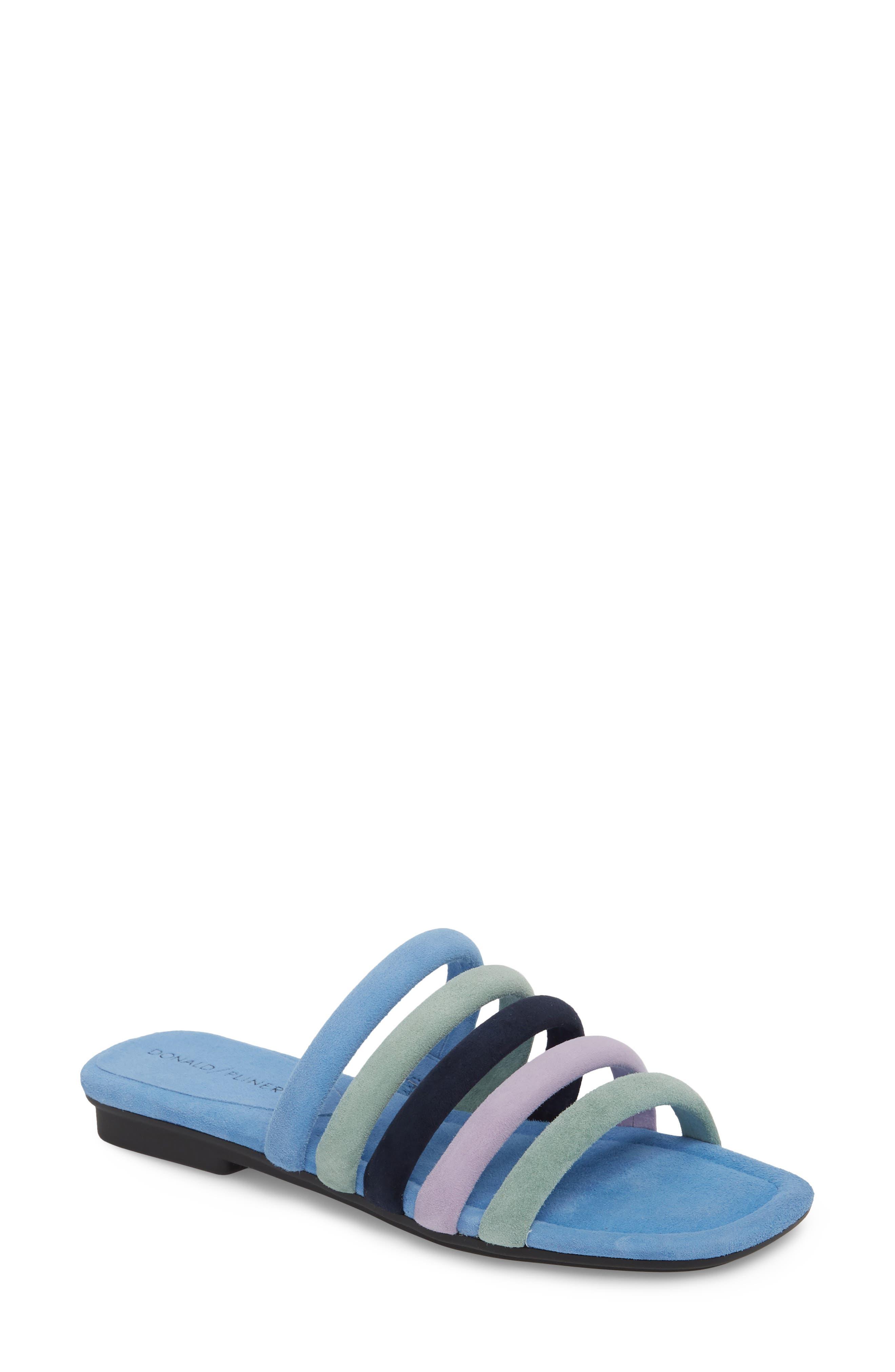 Kip Slide Sandal,                             Main thumbnail 1, color,                             Sage/ Blue Leather