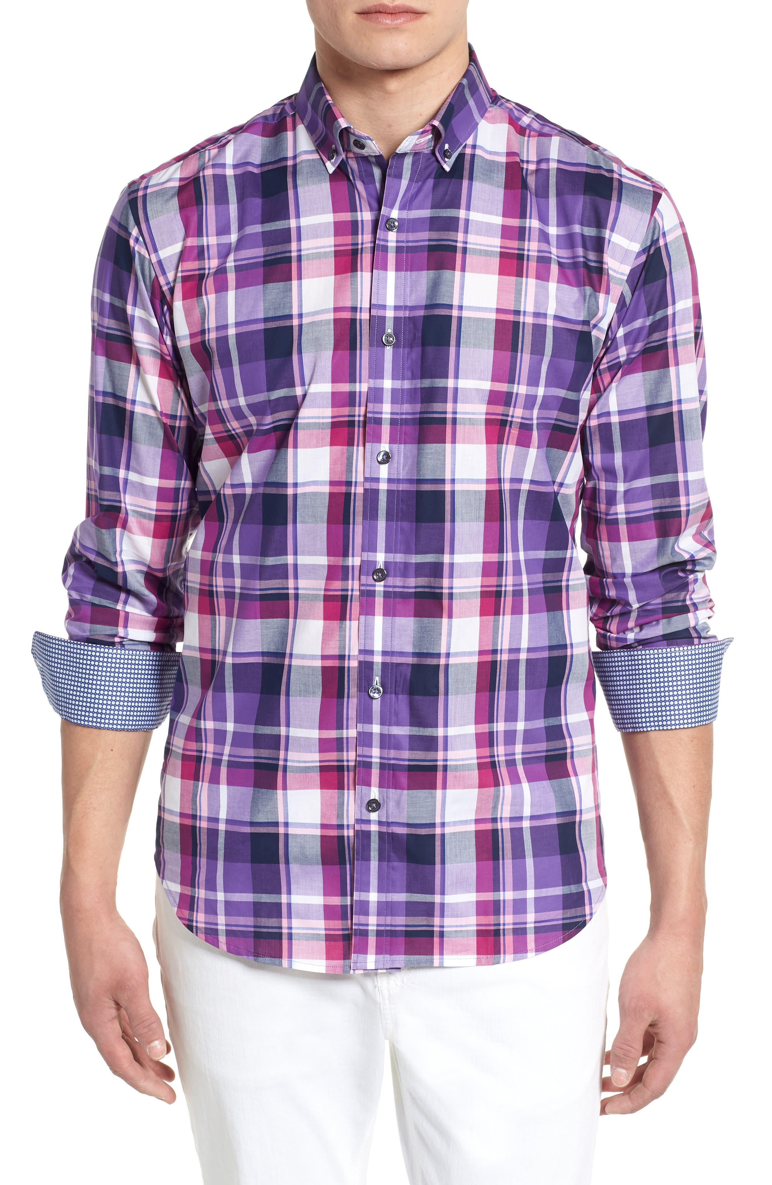 Shaped Fit Check Sport Shirt,                             Main thumbnail 1, color,                             Grape