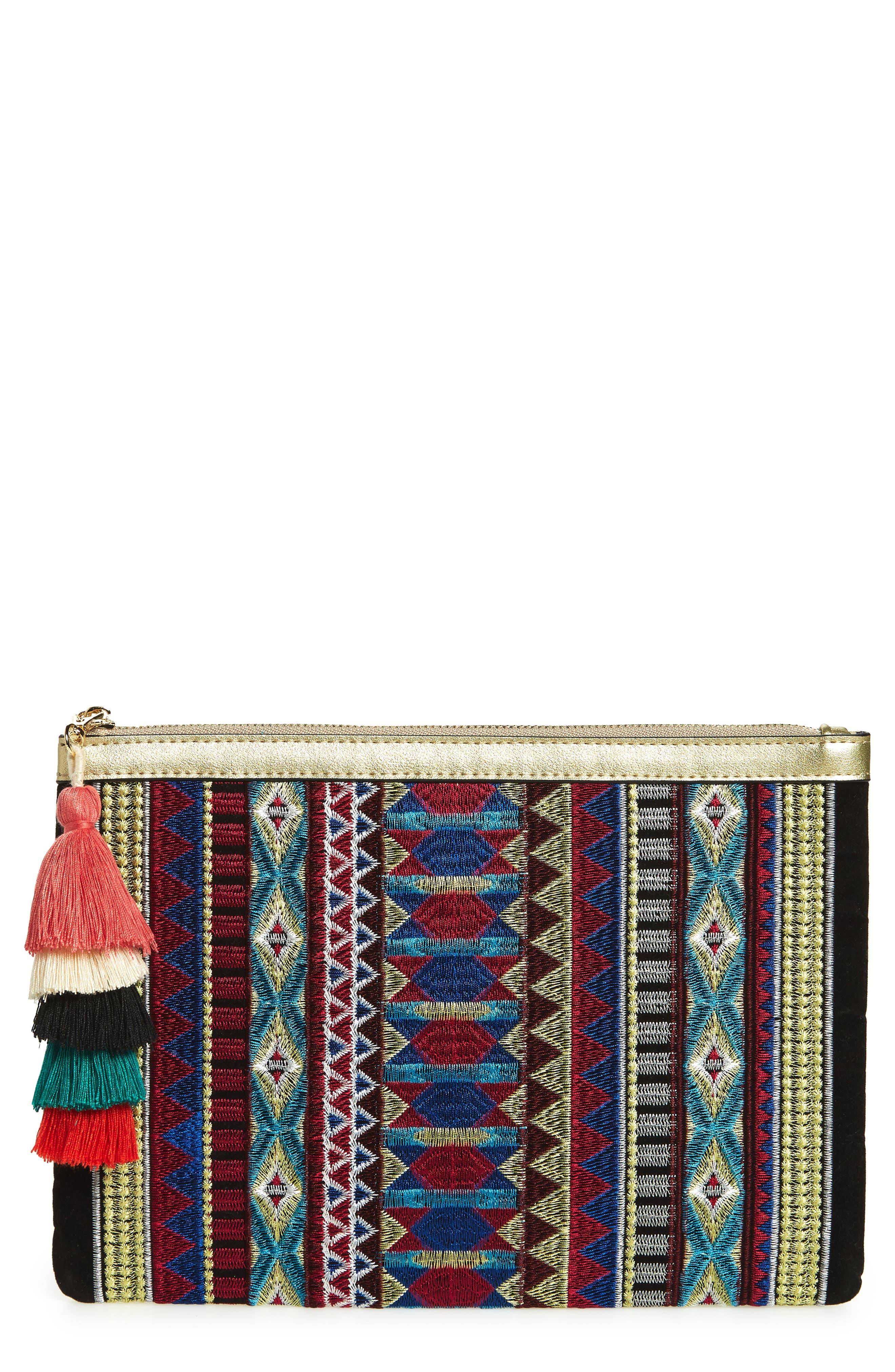 Mali + Lili Joanne Embroidered Tassel Clutch,                         Main,                         color, Multi