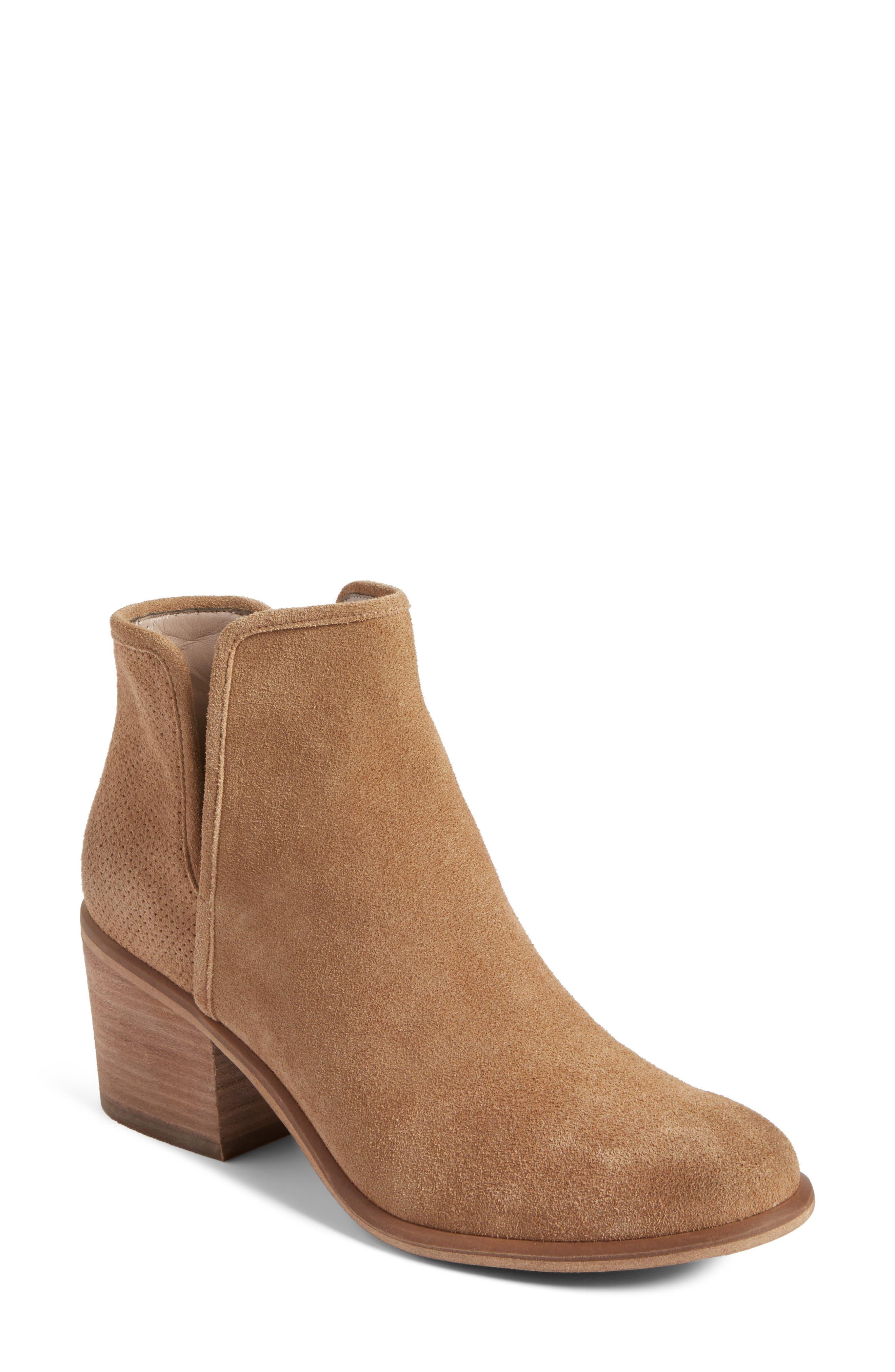 Barris Block Heel Bootie,                         Main,                         color, New Taupe Suede