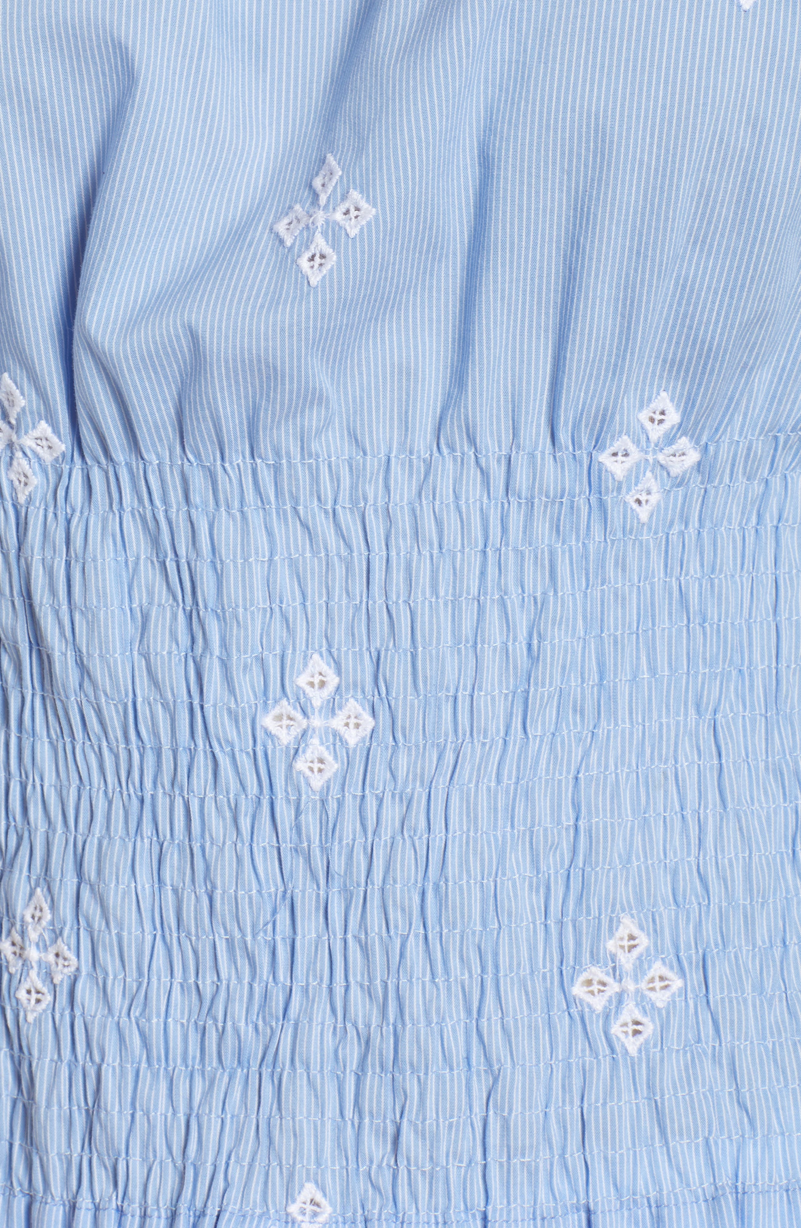 Smocked Pinstripe Top,                             Alternate thumbnail 6, color,                             Blue- White Fizzle Stripe