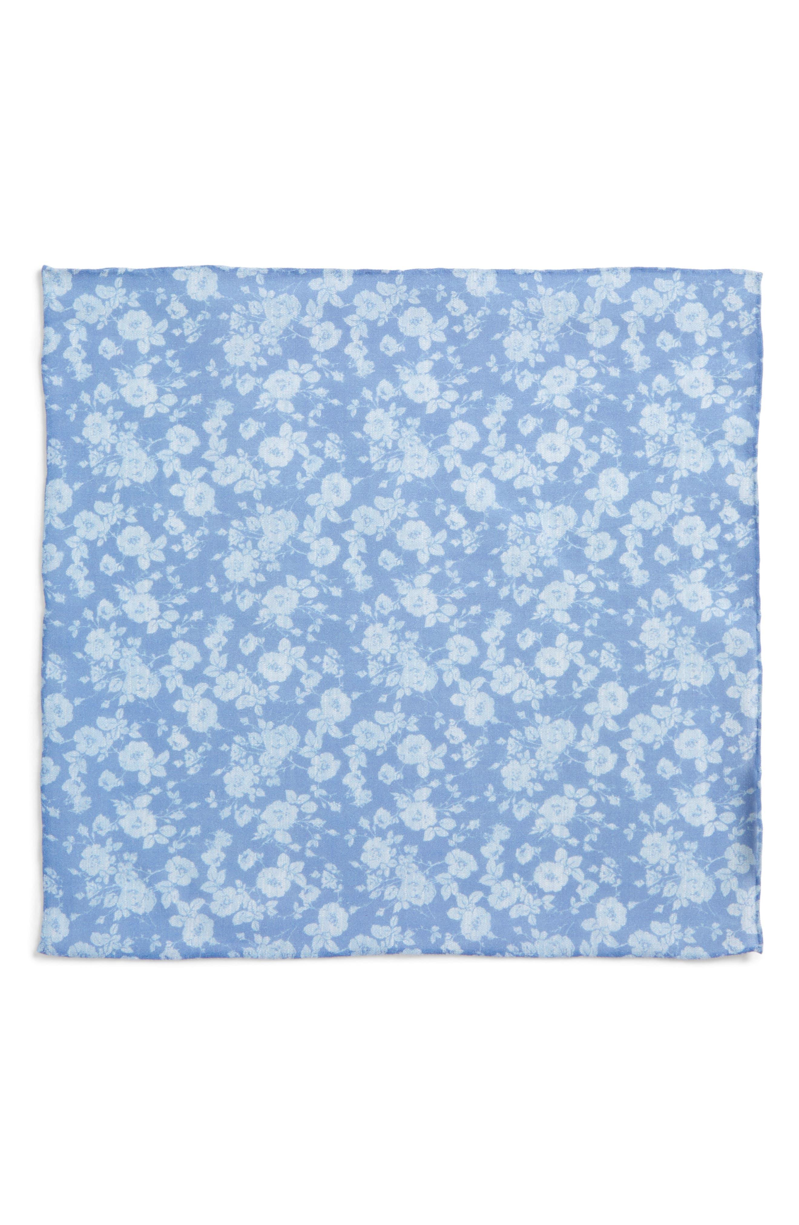 Buds Floral Linen Pocket Square,                             Alternate thumbnail 2, color,                             Light Blue