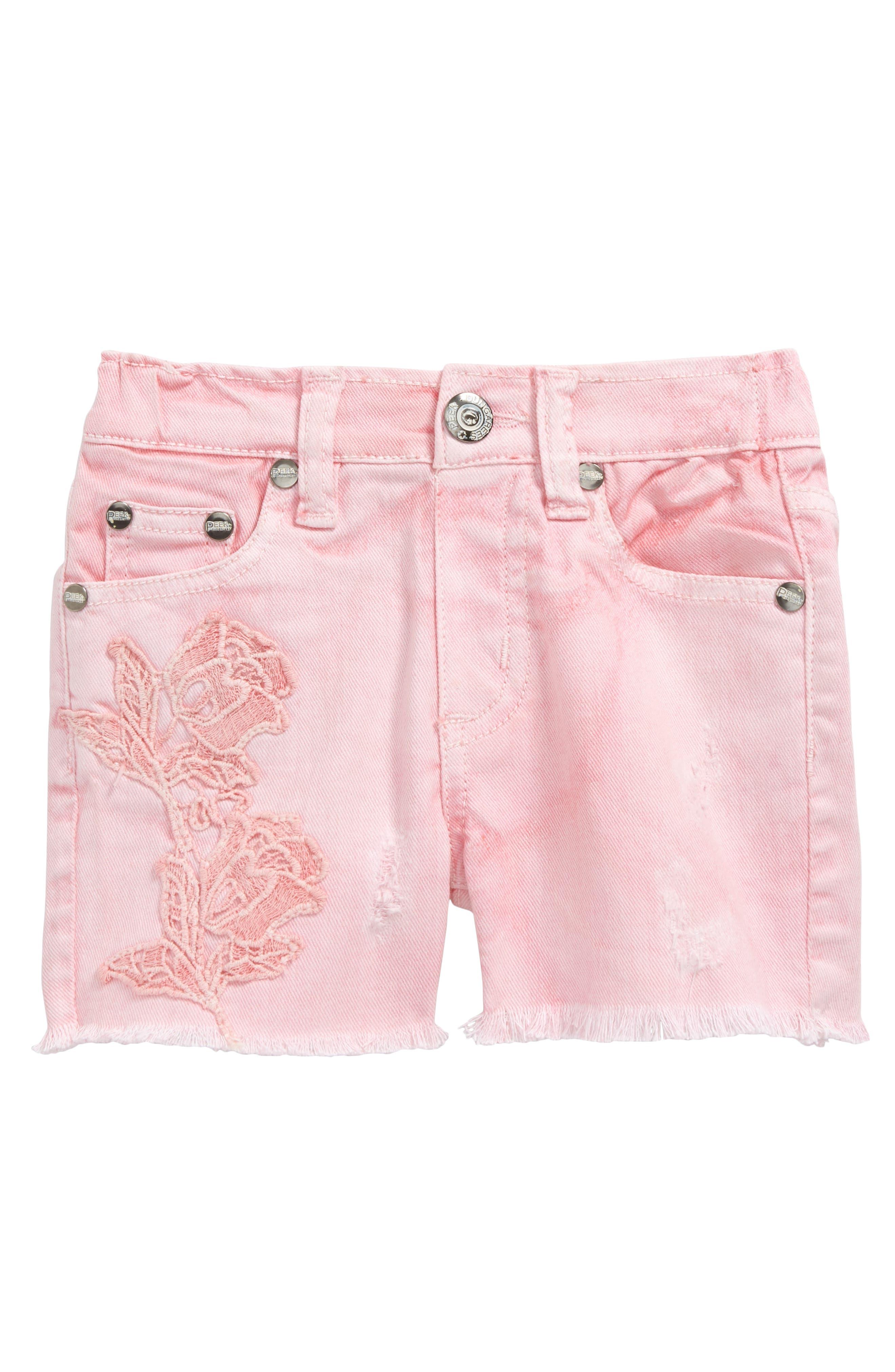 Griffin Cutoff Denim Shorts,                         Main,                         color, Pink