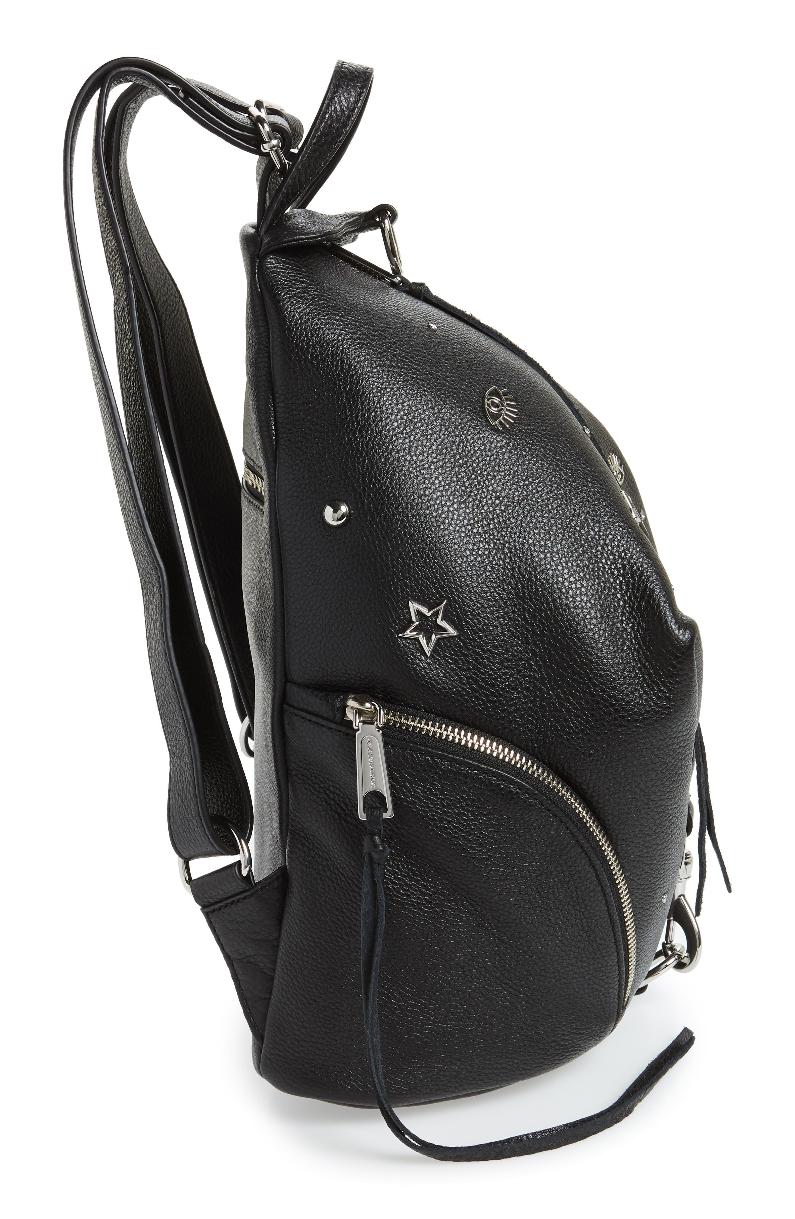 Julian Embellished Leather Backpack,                             Alternate thumbnail 5, color,                             Black