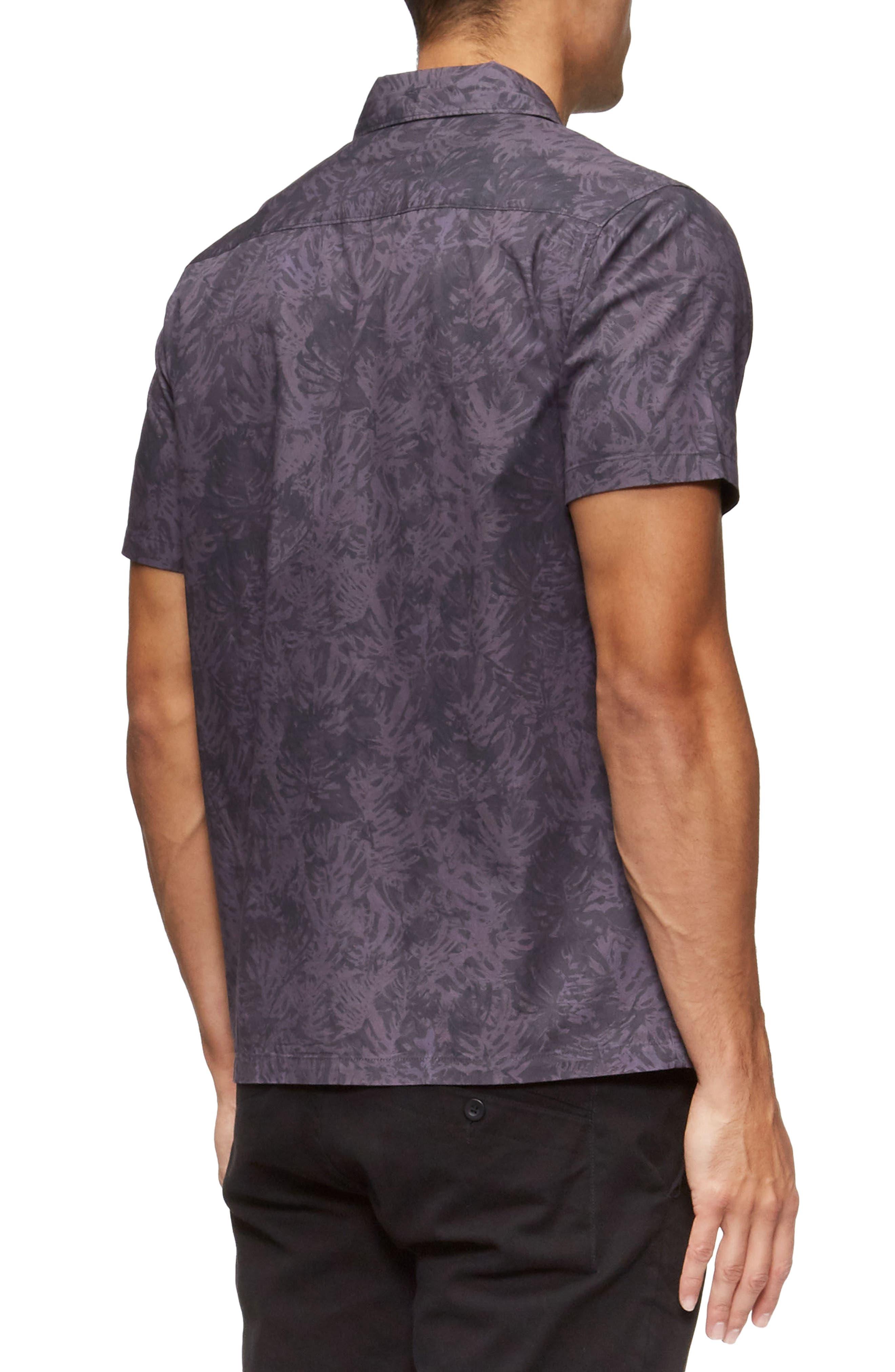 Villa Palms Short Sleeve Woven Shirt,                             Alternate thumbnail 2, color,                             Faded Purple Palms