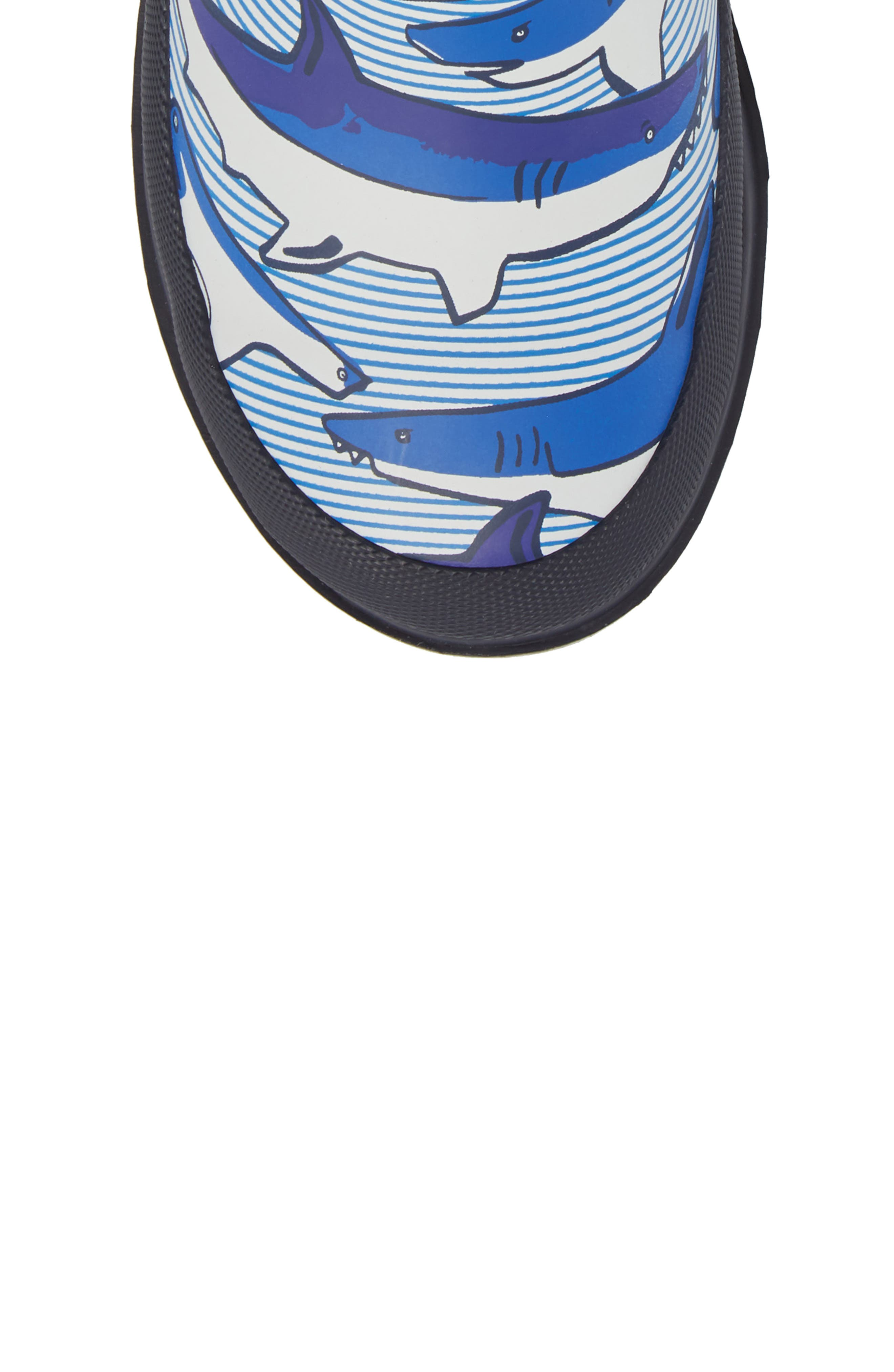 Mid Height Print Welly Rain Boot,                             Alternate thumbnail 5, color,                             Shark Dive Stripe