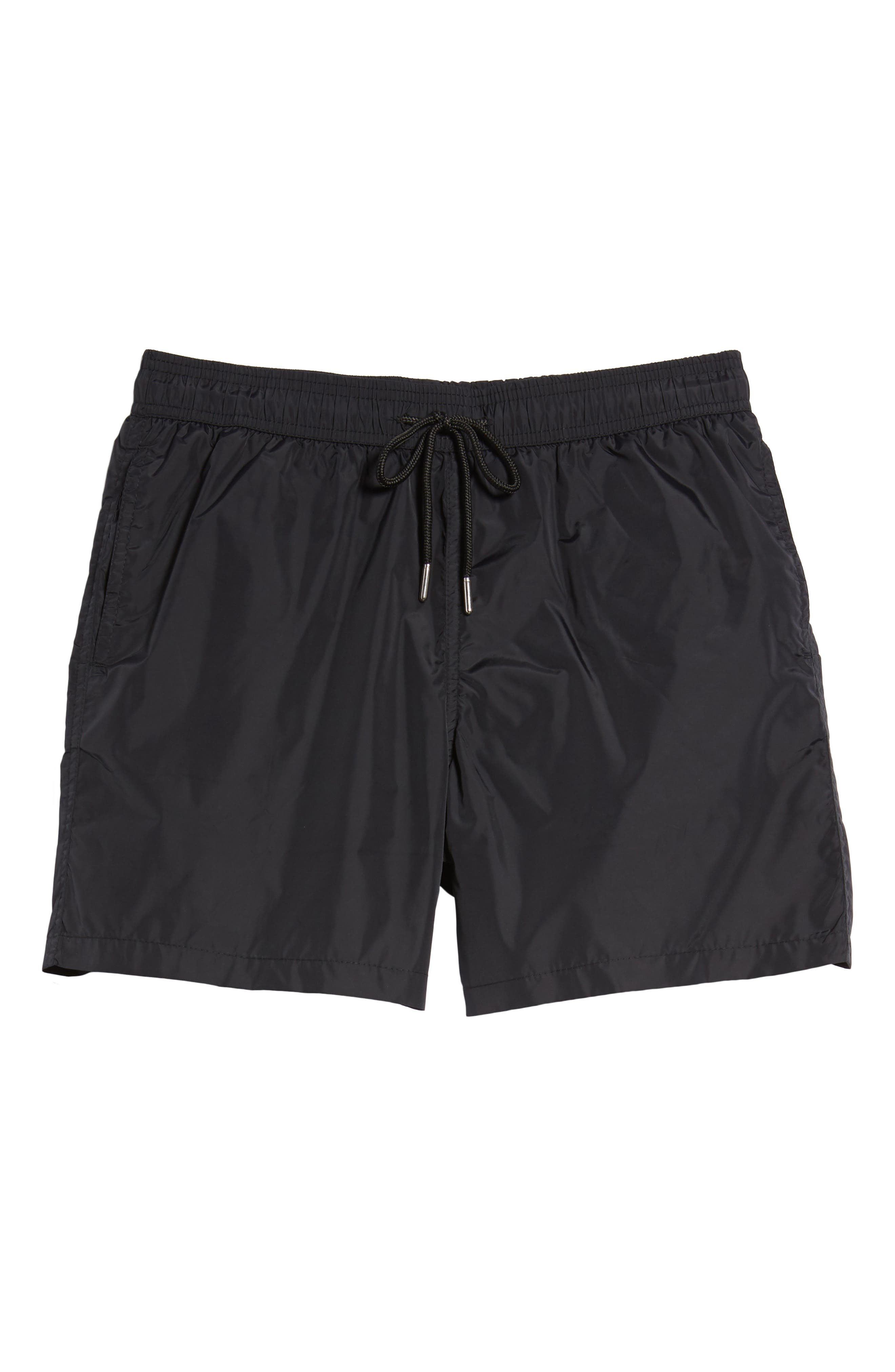 Swim Trunks,                             Alternate thumbnail 6, color,                             Black /Turquoise