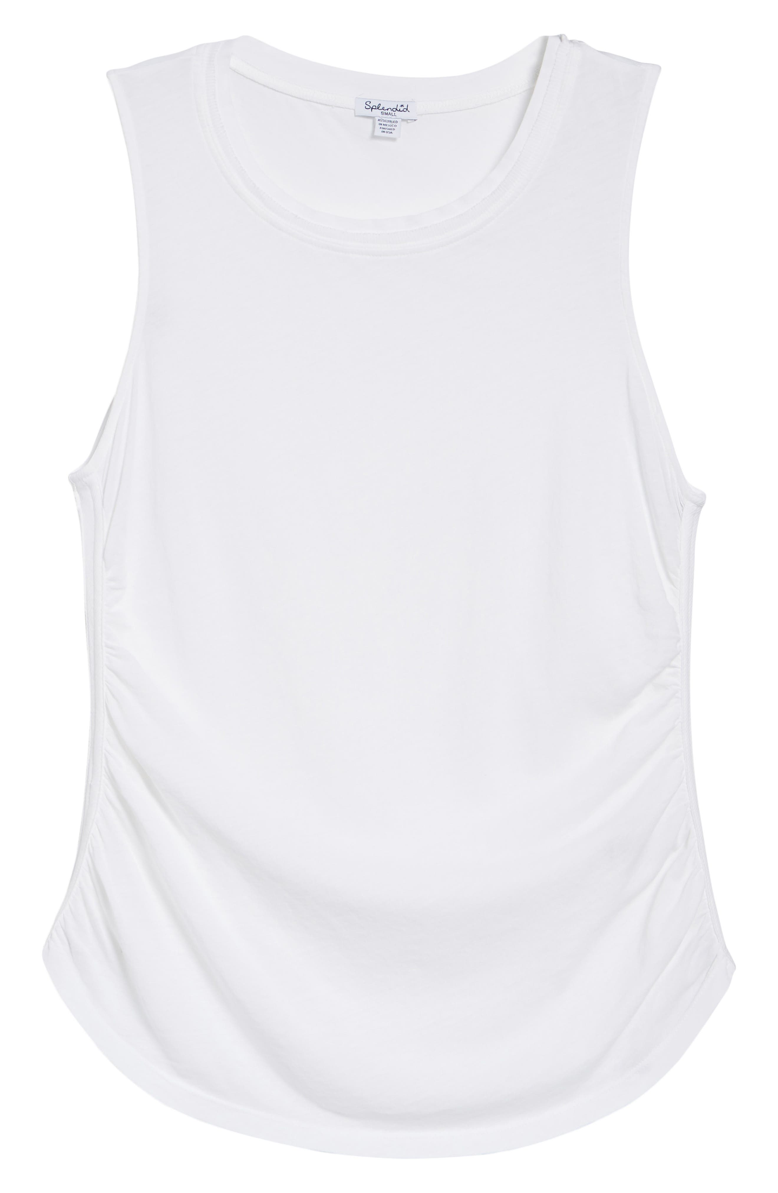 Ruched Supima<sup>®</sup> Cotton Tank,                             Alternate thumbnail 7, color,                             Paper