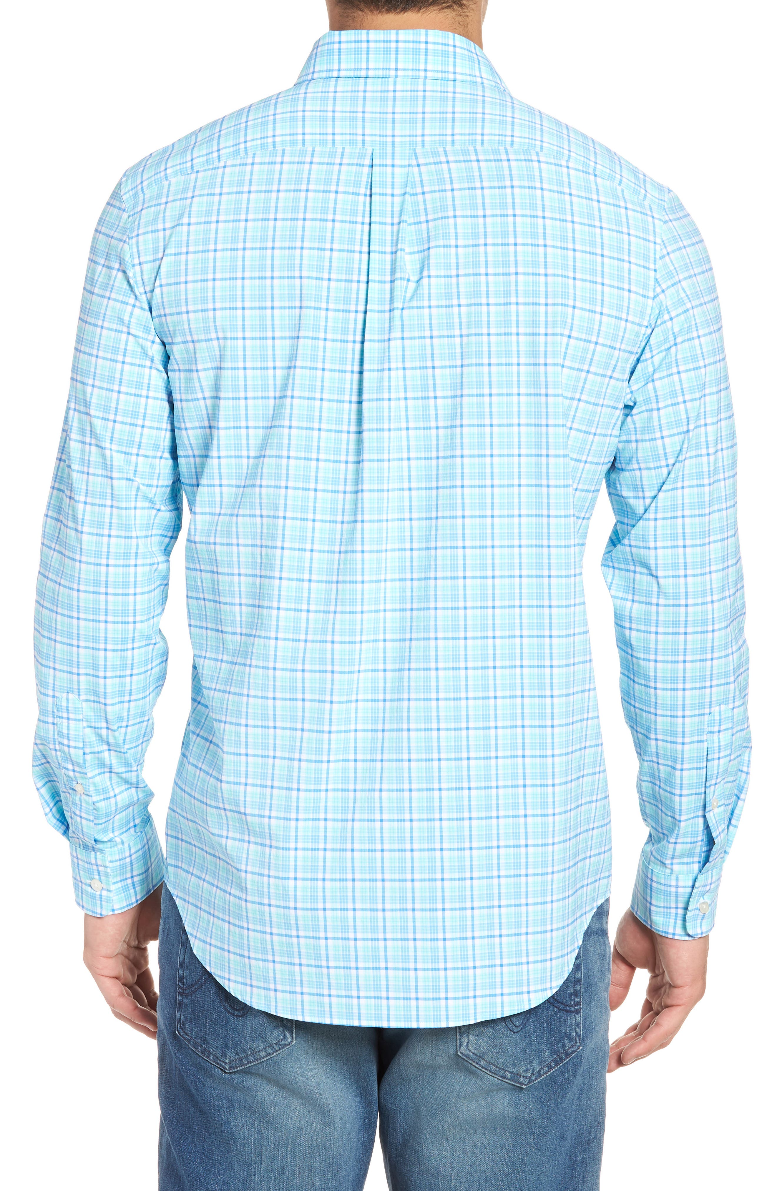 Tipsy Bar Classic Fit Stretch Plaid Sport Shirt,                             Alternate thumbnail 3, color,                             Turquoise