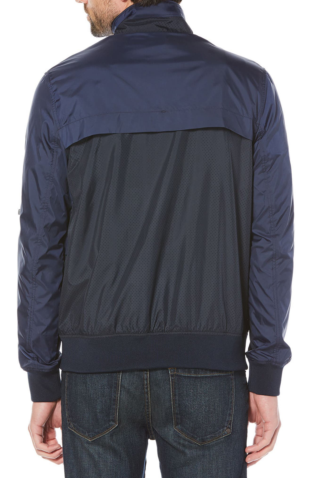 Perforated Piecing Windbreaker,                             Alternate thumbnail 2, color,                             Dark Sapphire