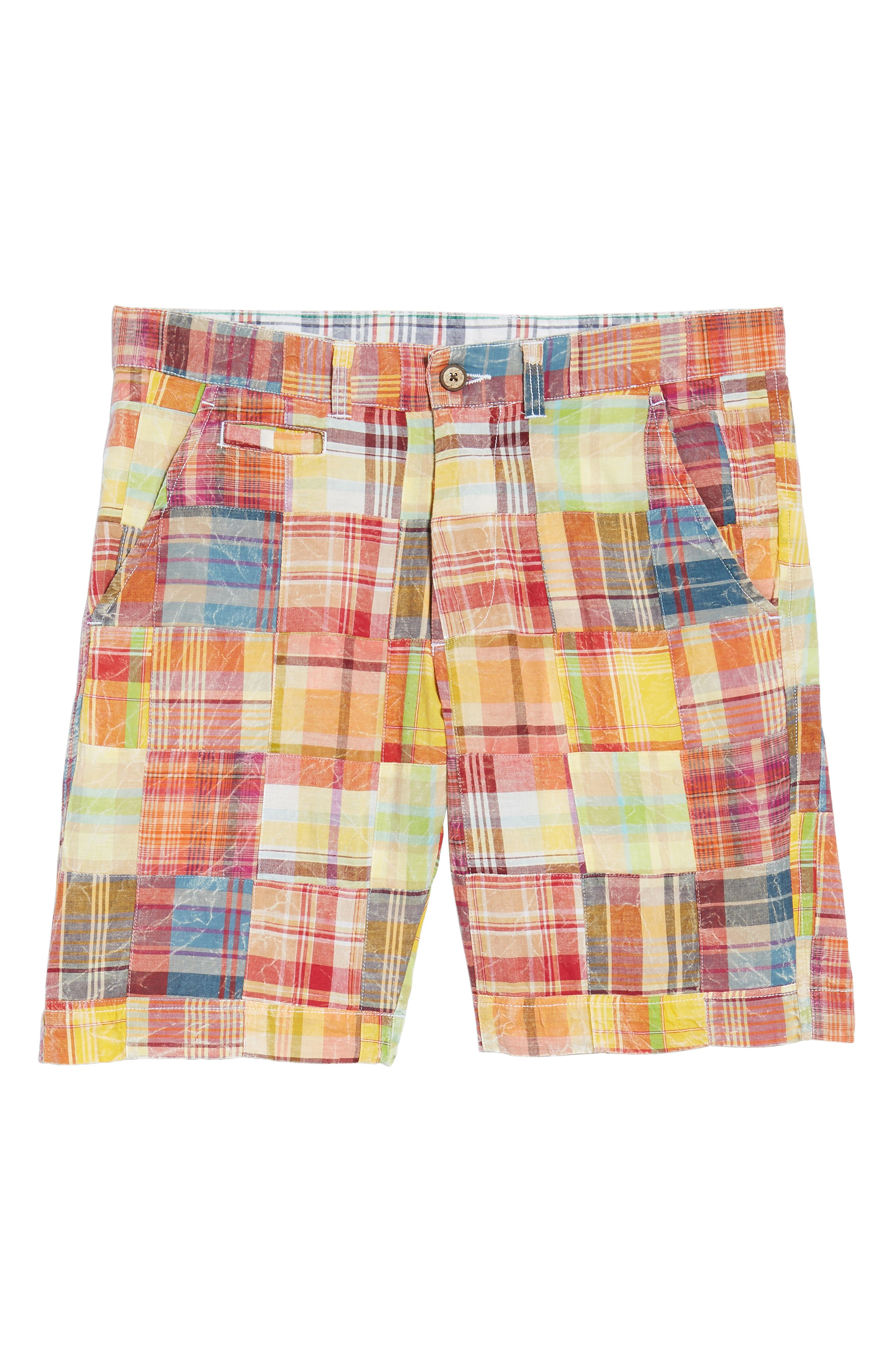 Acid Wash Plaid Patchwork Shorts,                             Alternate thumbnail 7, color,                             Orange