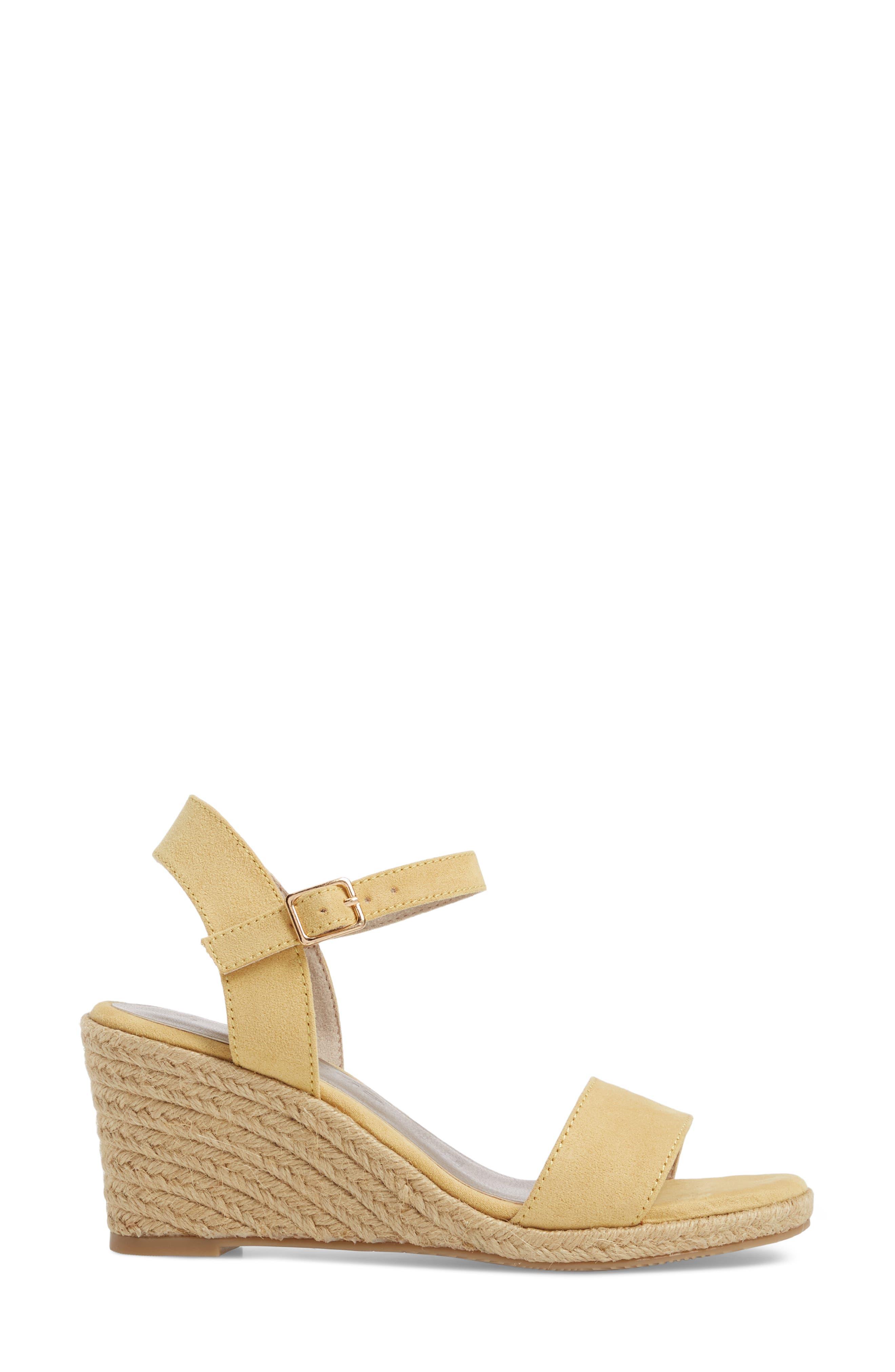 Livia Espadrille Wedge Sandal,                             Alternate thumbnail 3, color,                             Saffron Fabric