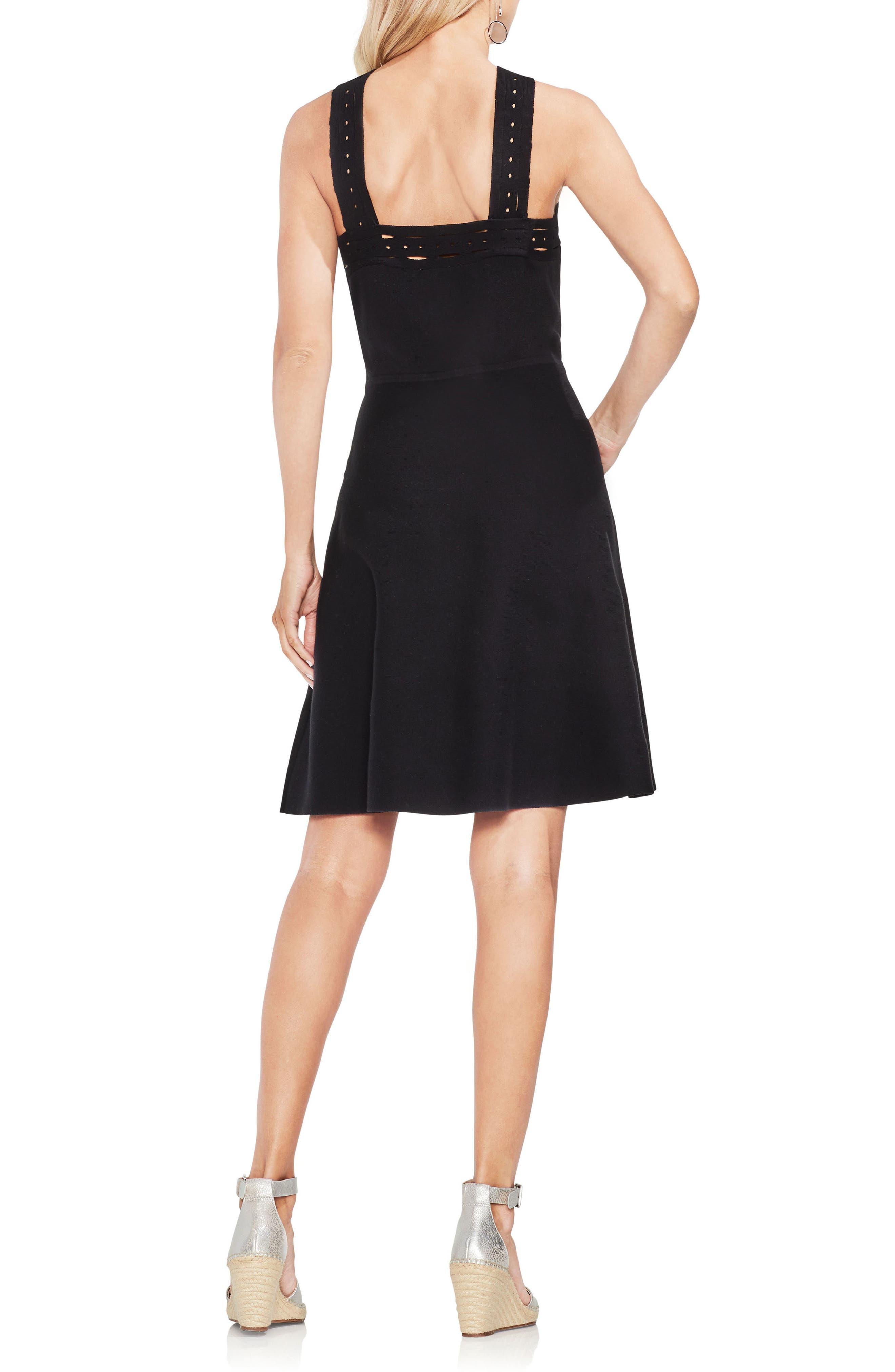 Crisscross Fit & Flare Sweater Dress,                             Alternate thumbnail 2, color,                             Rich Black