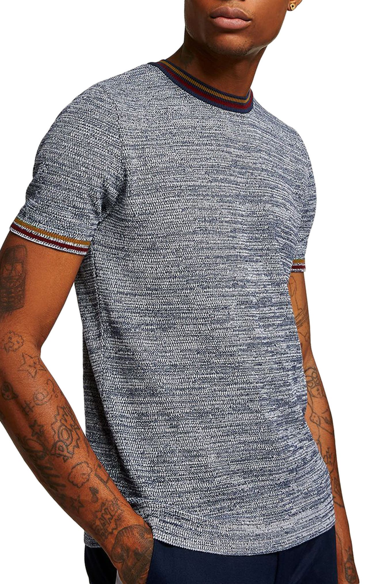 Slim Fit Knit T-Shirt,                         Main,                         color, Grey Multi