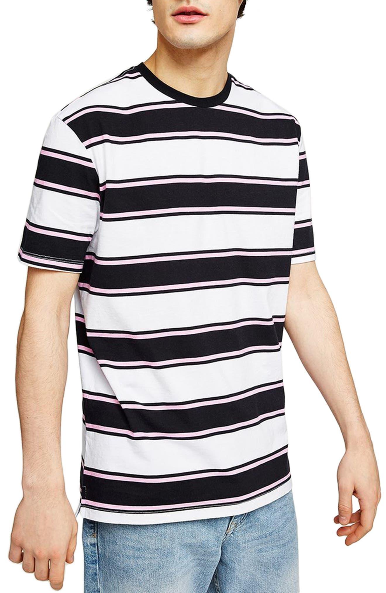 Stripe Crewneck T-Shirt,                             Main thumbnail 1, color,                             White Multi