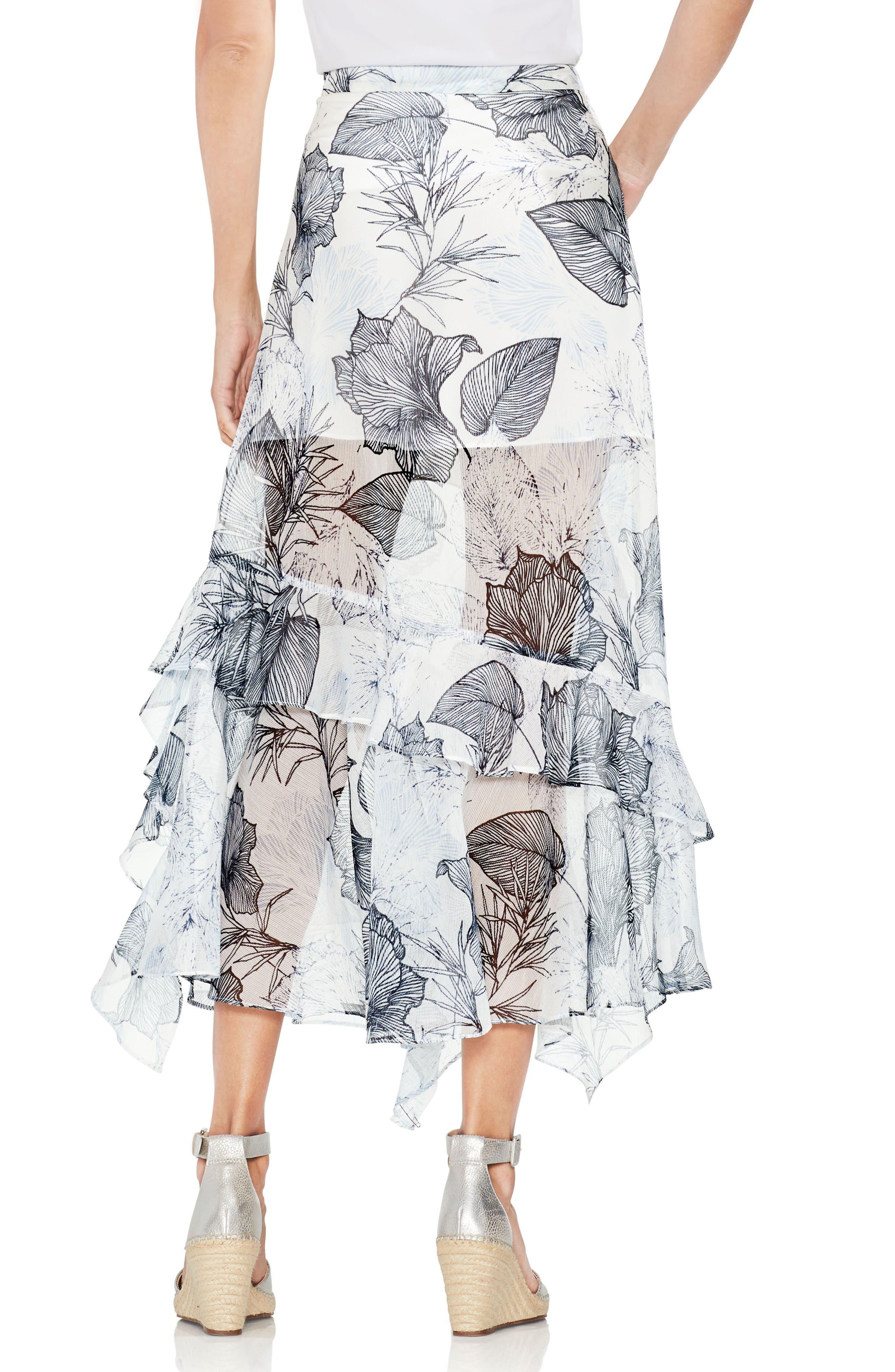 Ruffle Island Floral Midi Skirt,                             Alternate thumbnail 2, color,                             Ultra White