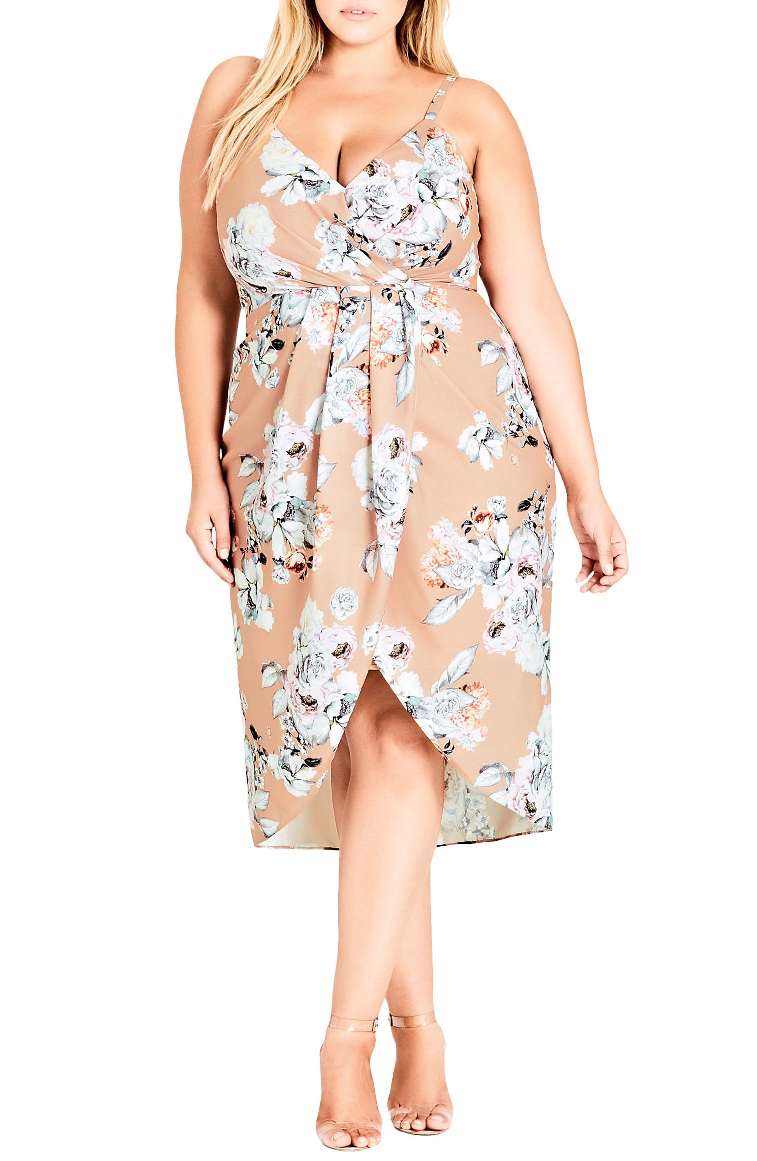 Paper Floral Mock Wrap Dress,                             Main thumbnail 1, color,                             Paper Floral
