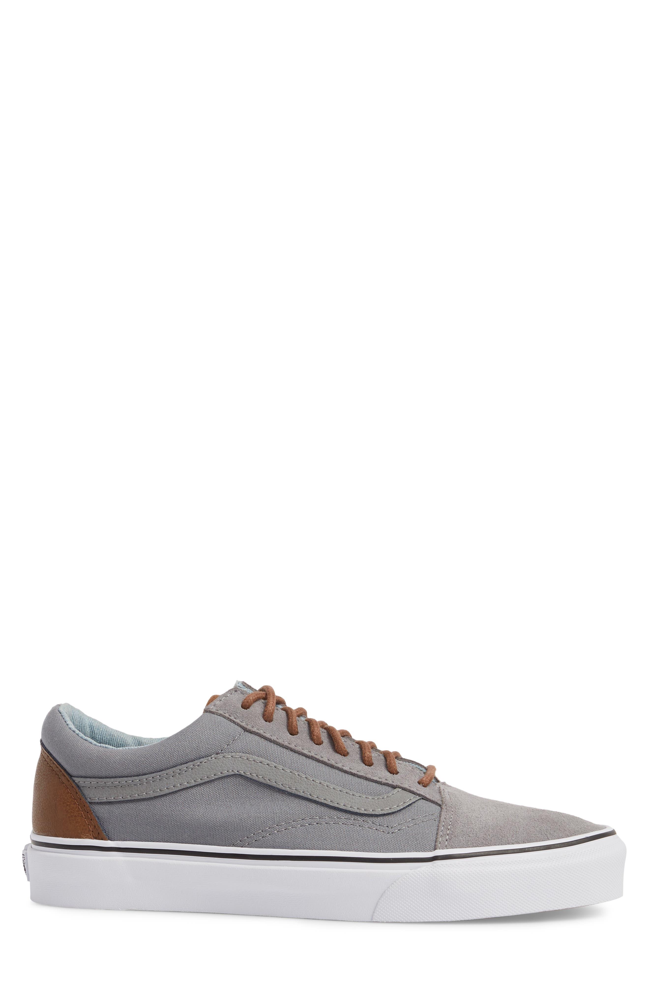 Old Skool Low Top Sneaker,                             Alternate thumbnail 3, color,                             Frost Grey/ Acid Denim Leather