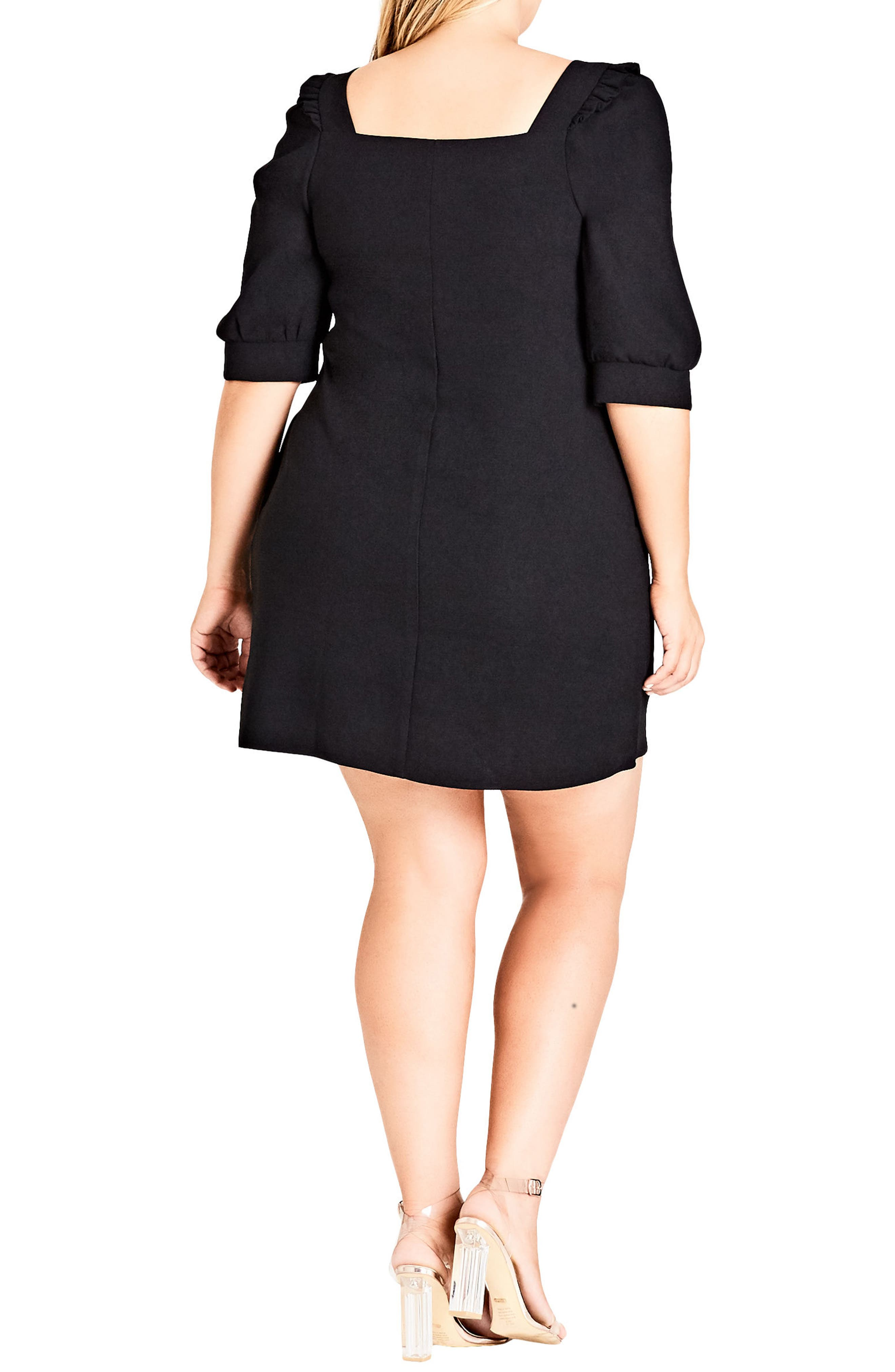 Darling Square Neck Dress,                             Alternate thumbnail 2, color,                             Black
