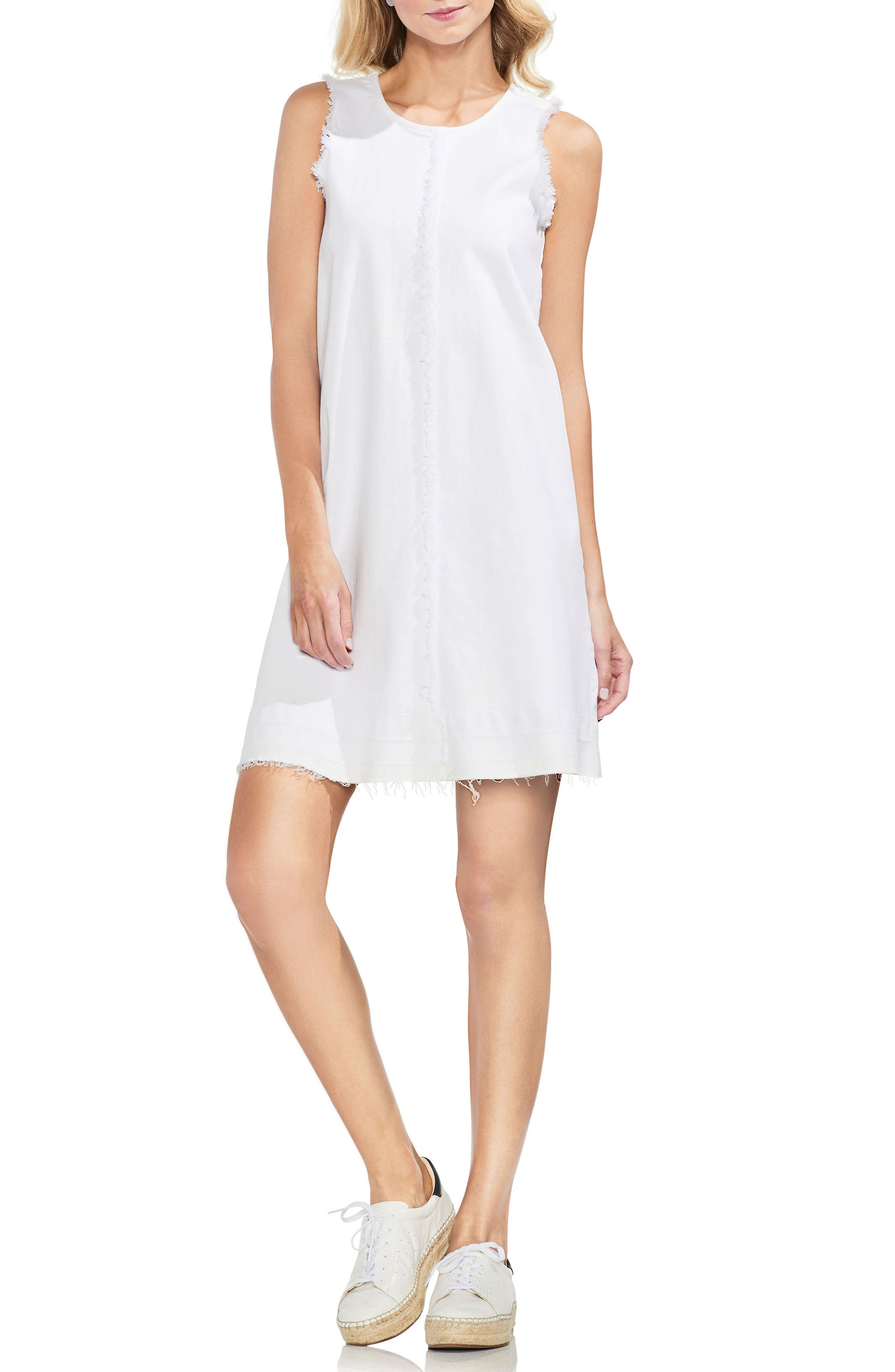 Frayed Twill Shift Dress,                         Main,                         color, Ultra White