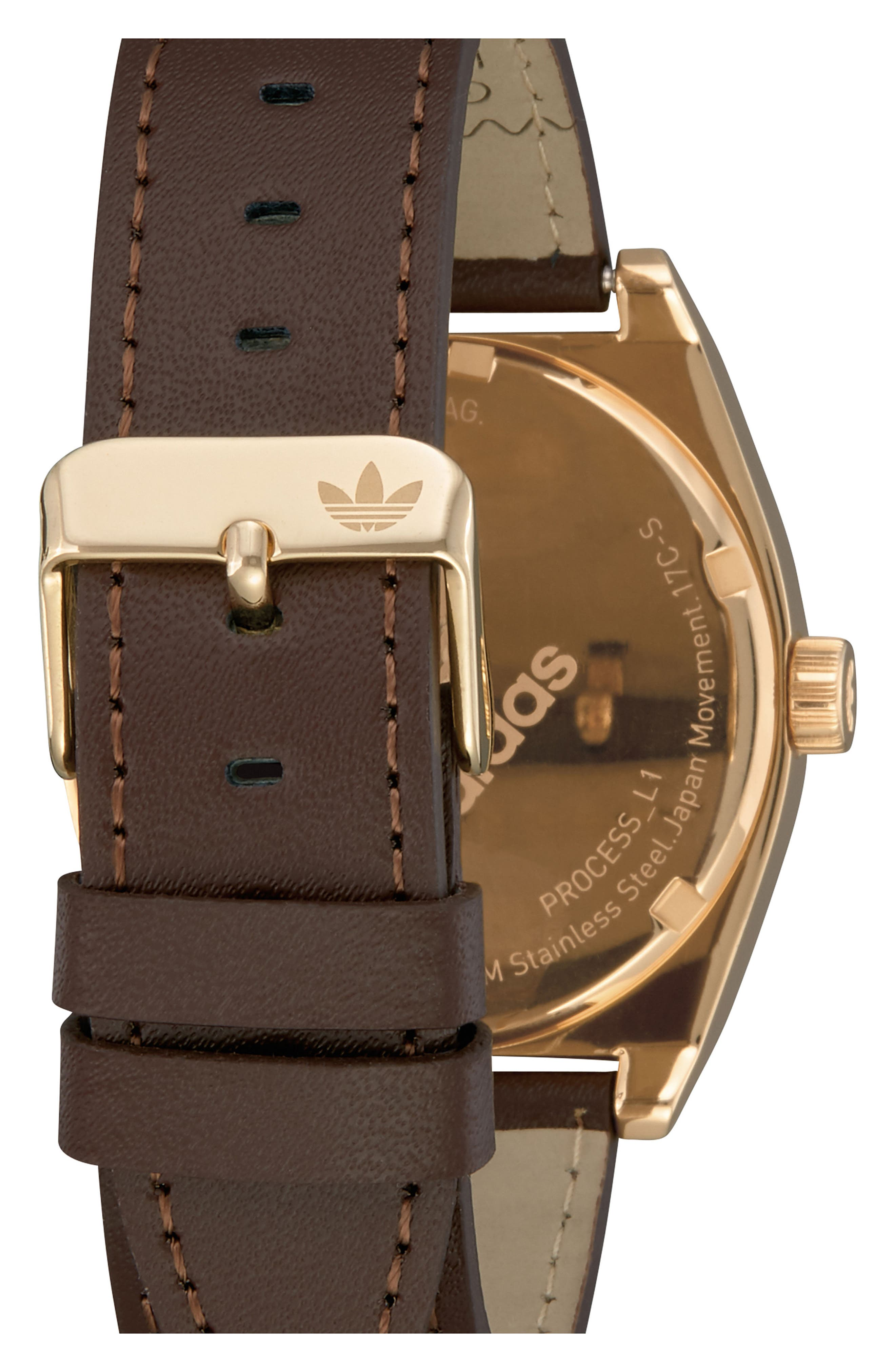 Process Leather Strap Watch, 38mm,                             Alternate thumbnail 2, color,                             Brown/ Blue/ Gold