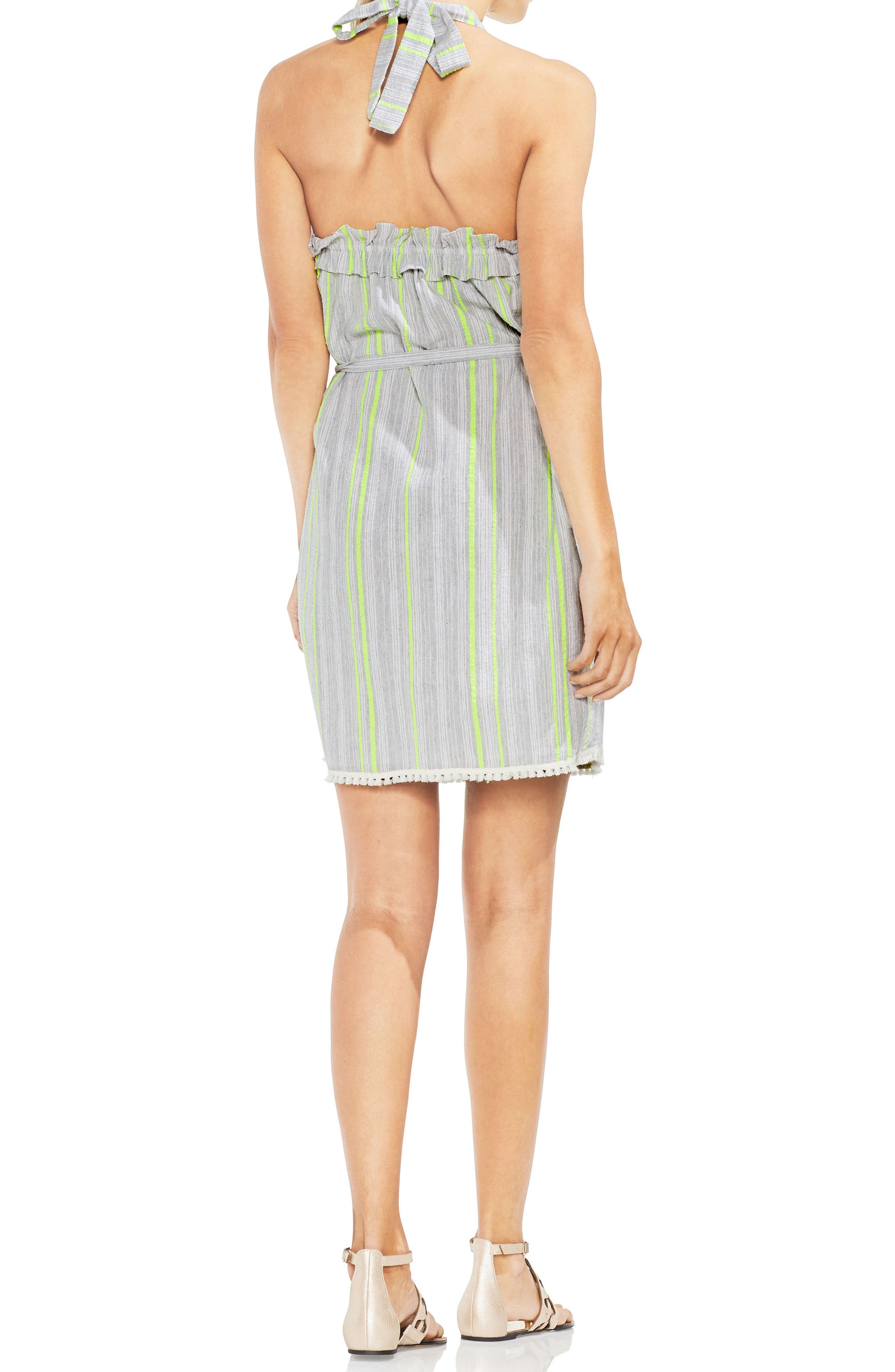 Halter Top Stripe Cotton Blend Dress,                             Alternate thumbnail 2, color,                             Island Lime