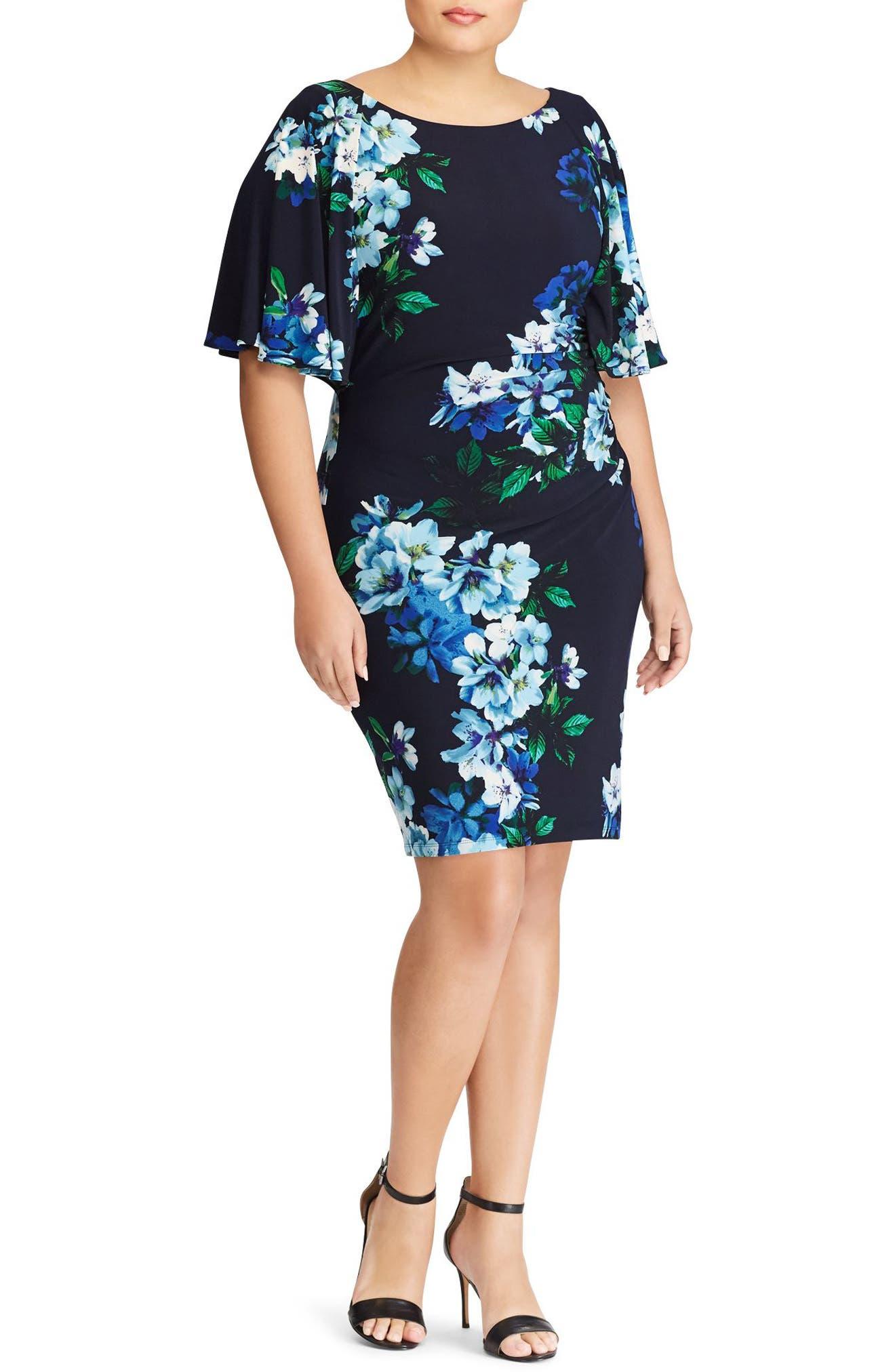 Lauren Ralph Lauren Jessup Tuxedo Floral Body-Con Dress (Plus Size)