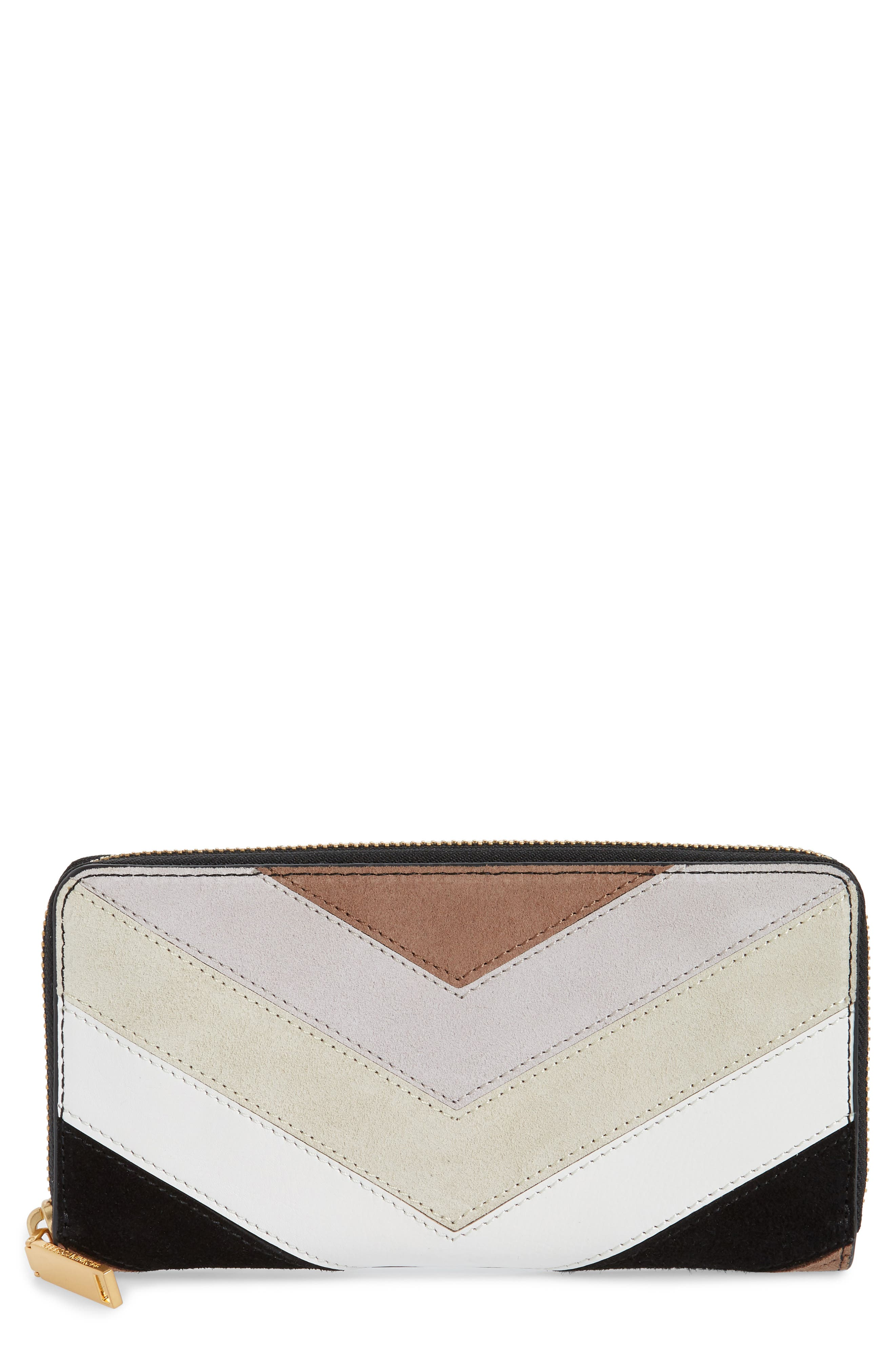 Chevron Quilted Suede Continental Wallet,                             Main thumbnail 1, color,                             Taupe Multi