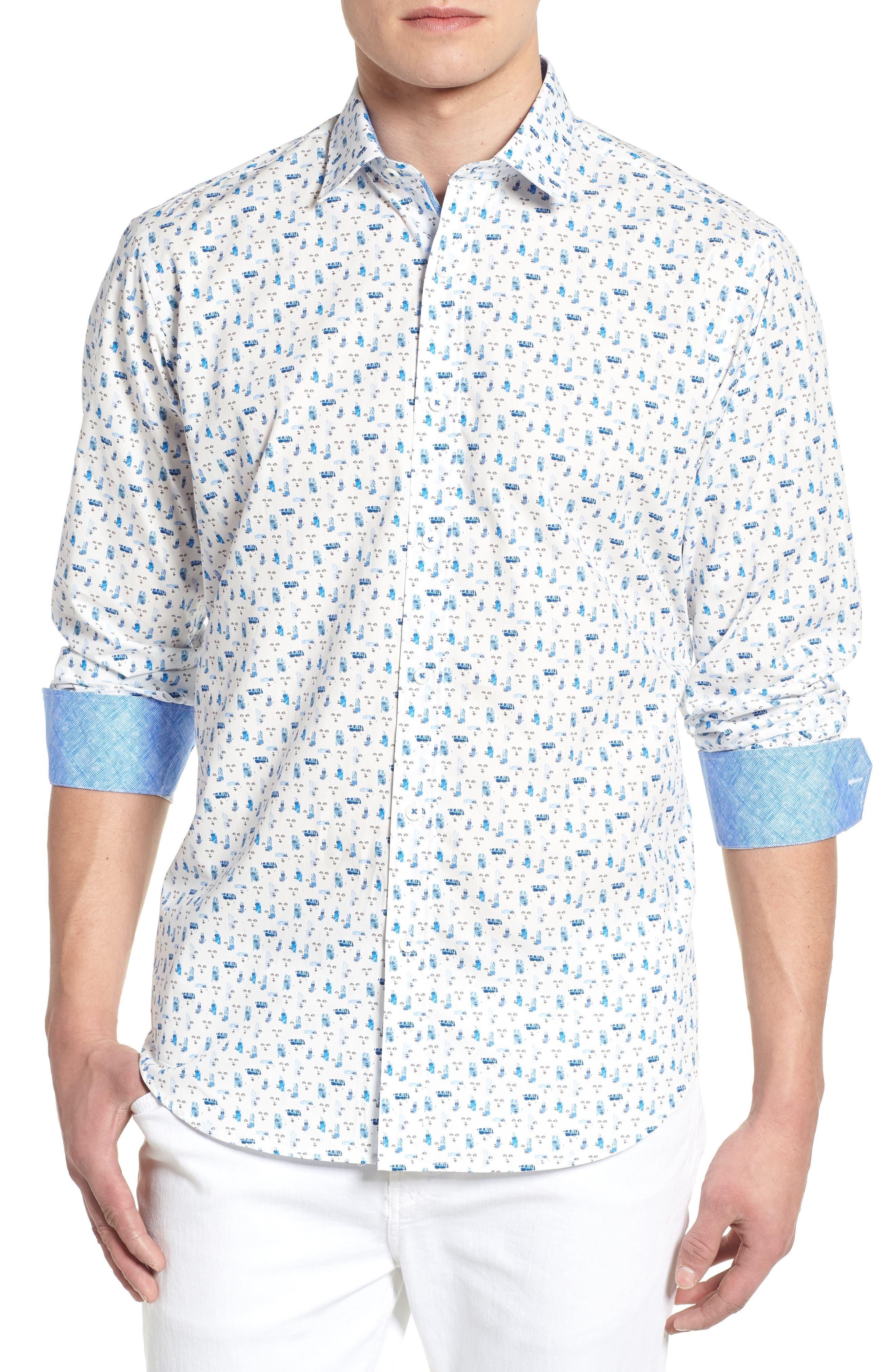Classic Fit Woven Sport Shirt,                         Main,                         color, Chalk