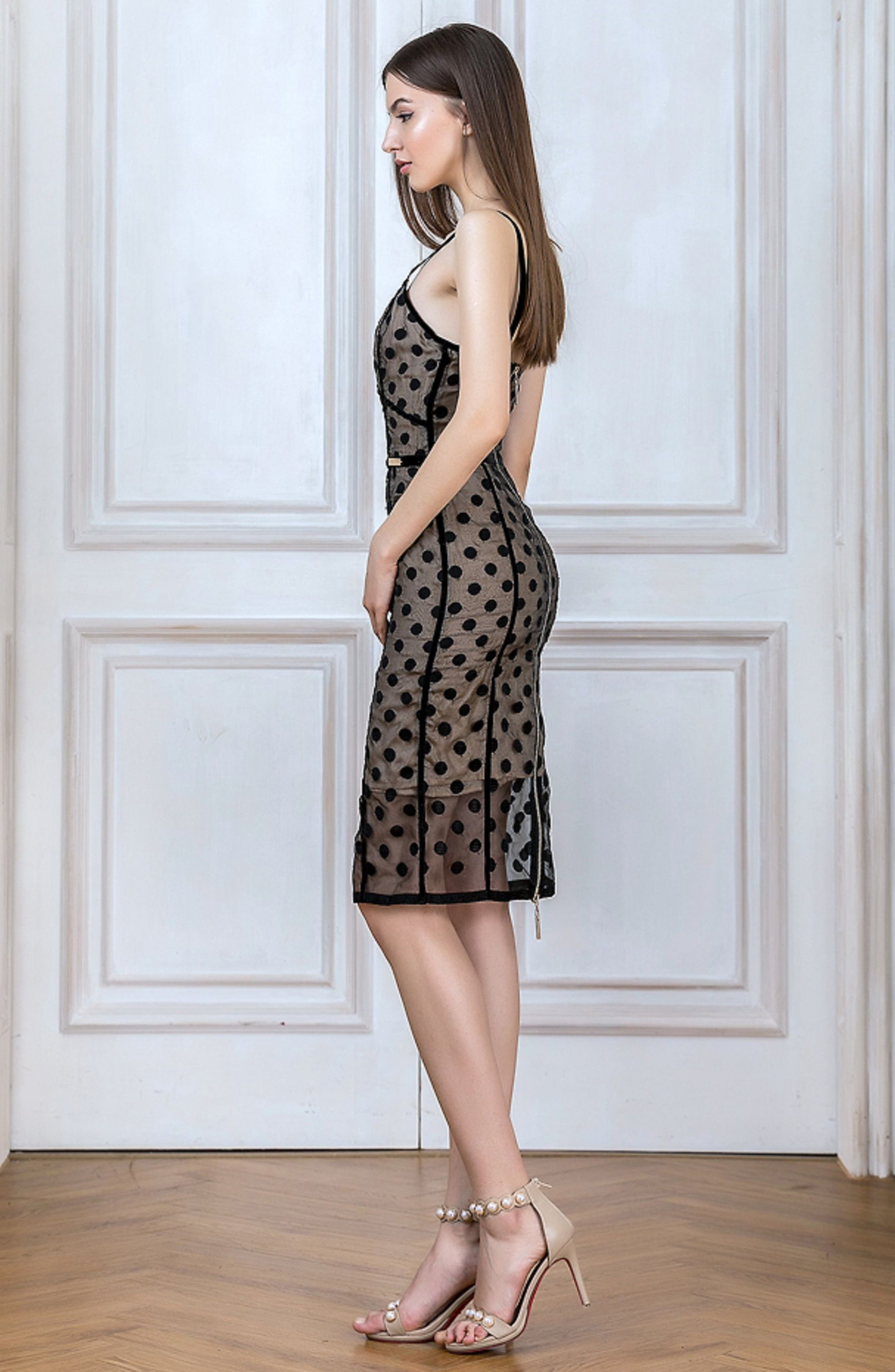 Isabella Noir Dot Embroidered Body-Con Dress,                             Alternate thumbnail 2, color,