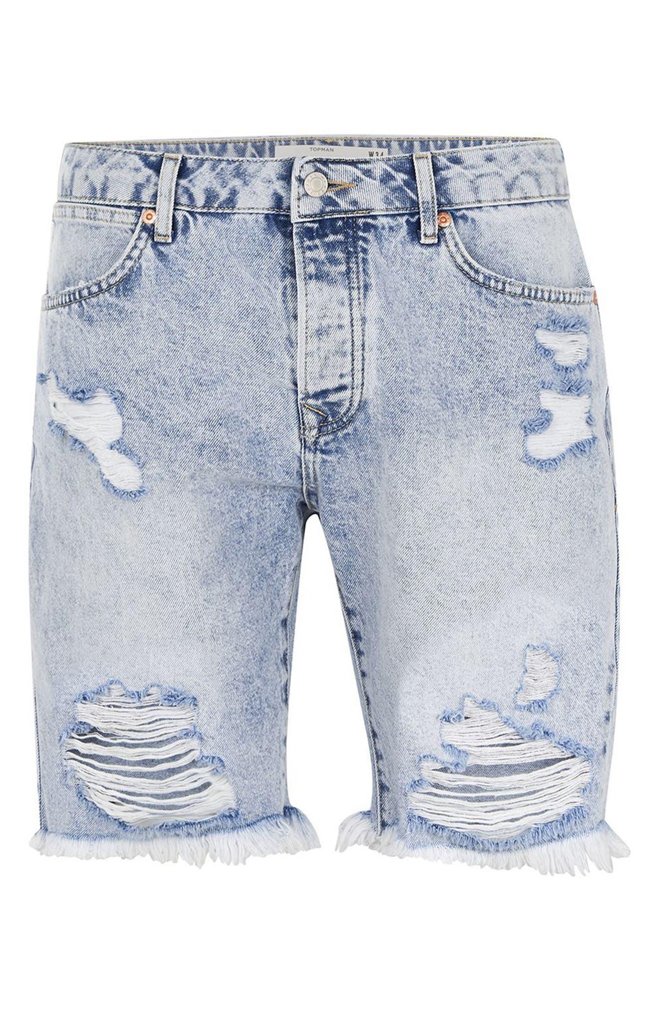 Slim Fit Ripped Denim Shorts,                             Alternate thumbnail 4, color,                             Light Blue