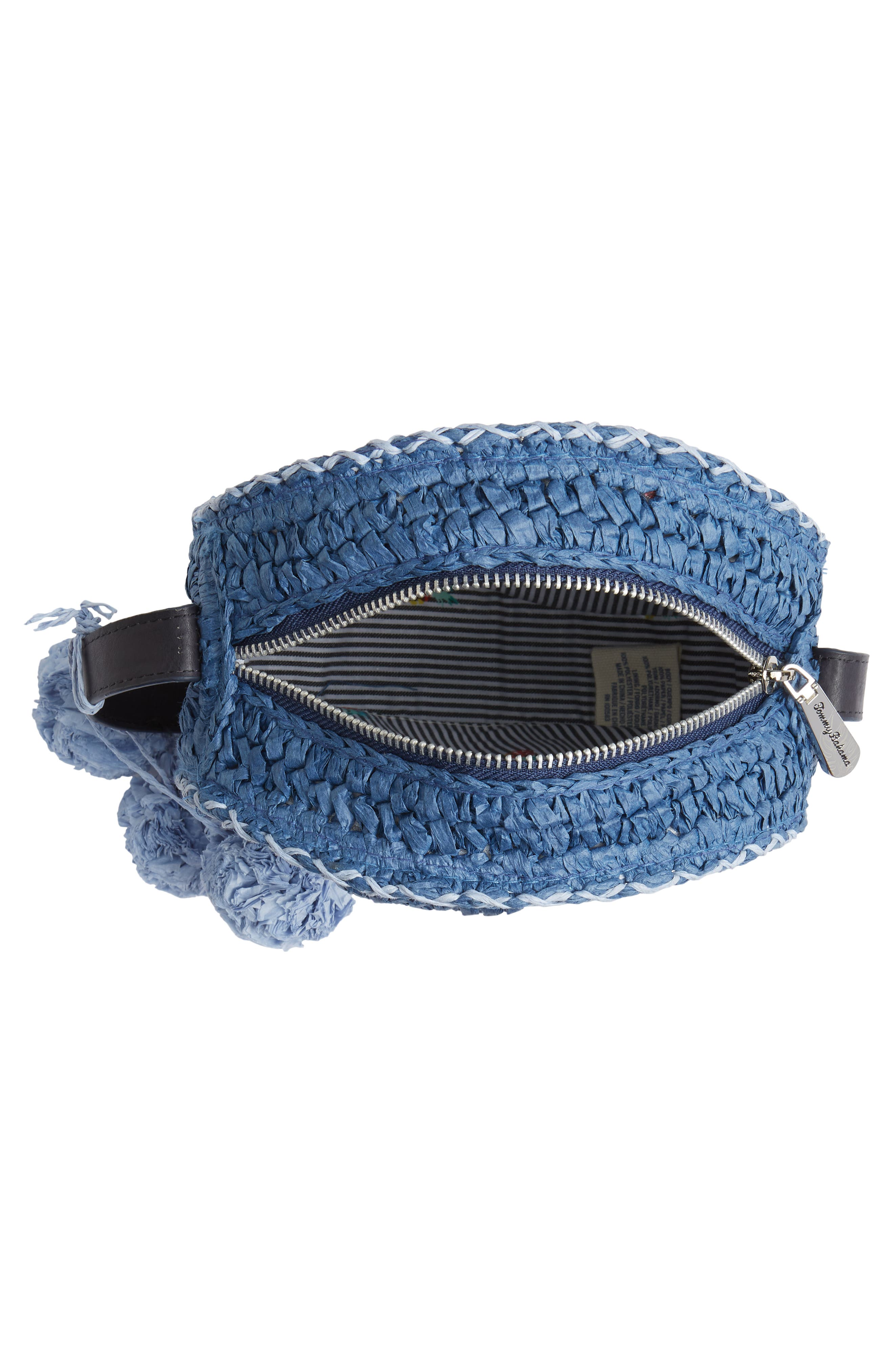 Pirro Woven Straw Crossbody Bag,                             Alternate thumbnail 4, color,                             Navy