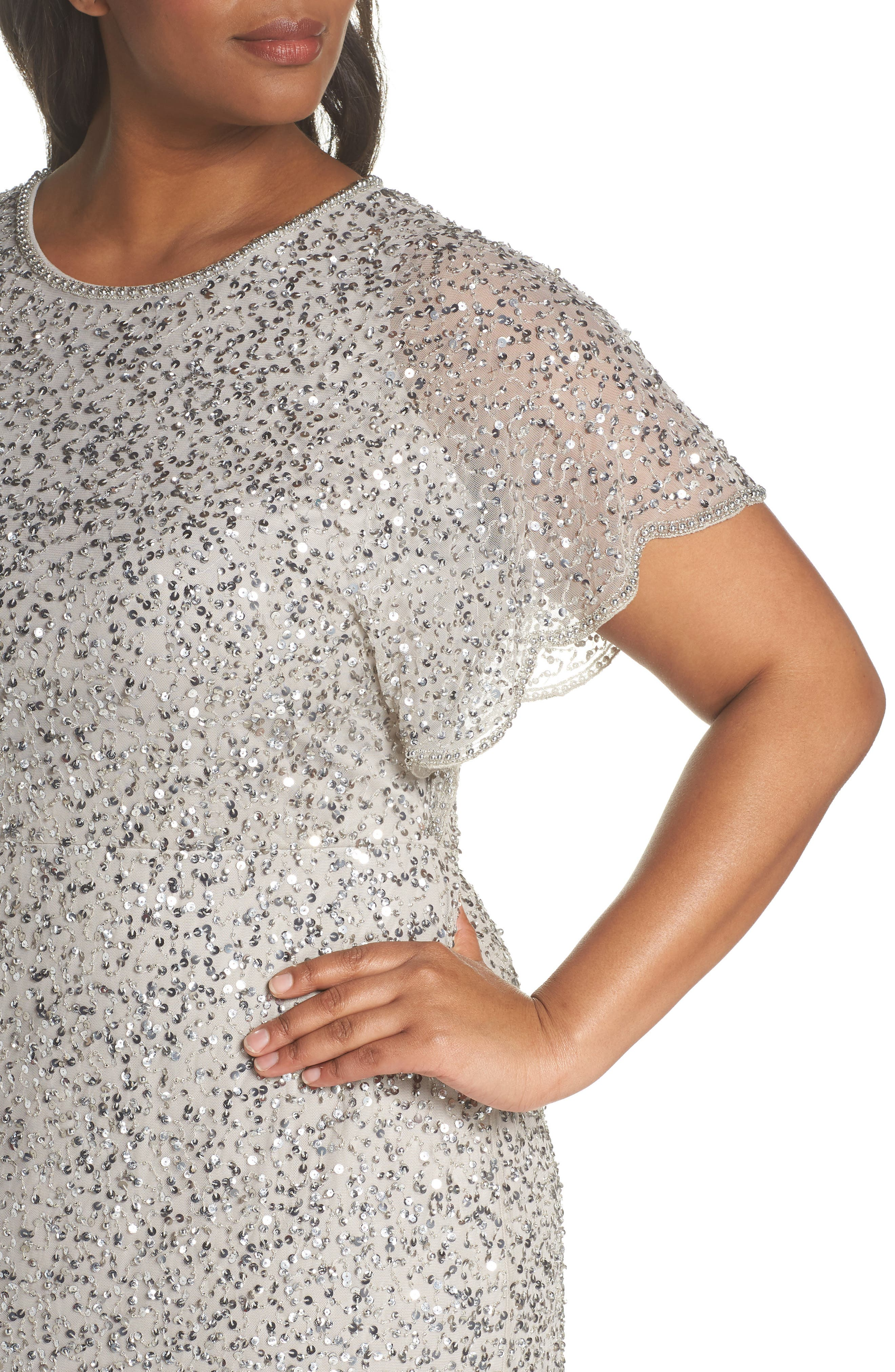 Beaded Flutter Sleeve Sheath Dress,                             Alternate thumbnail 4, color,                             Silver