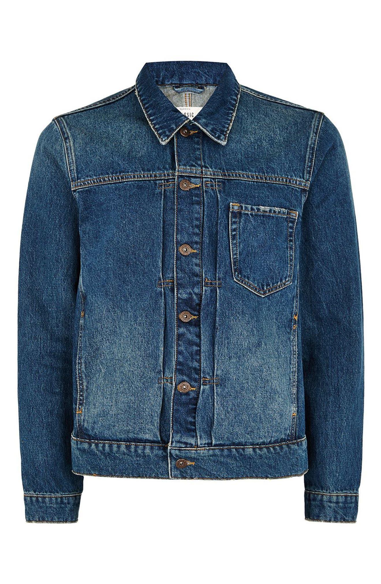 Cinch Back Denim Jacket,                             Alternate thumbnail 4, color,                             Mid Blue