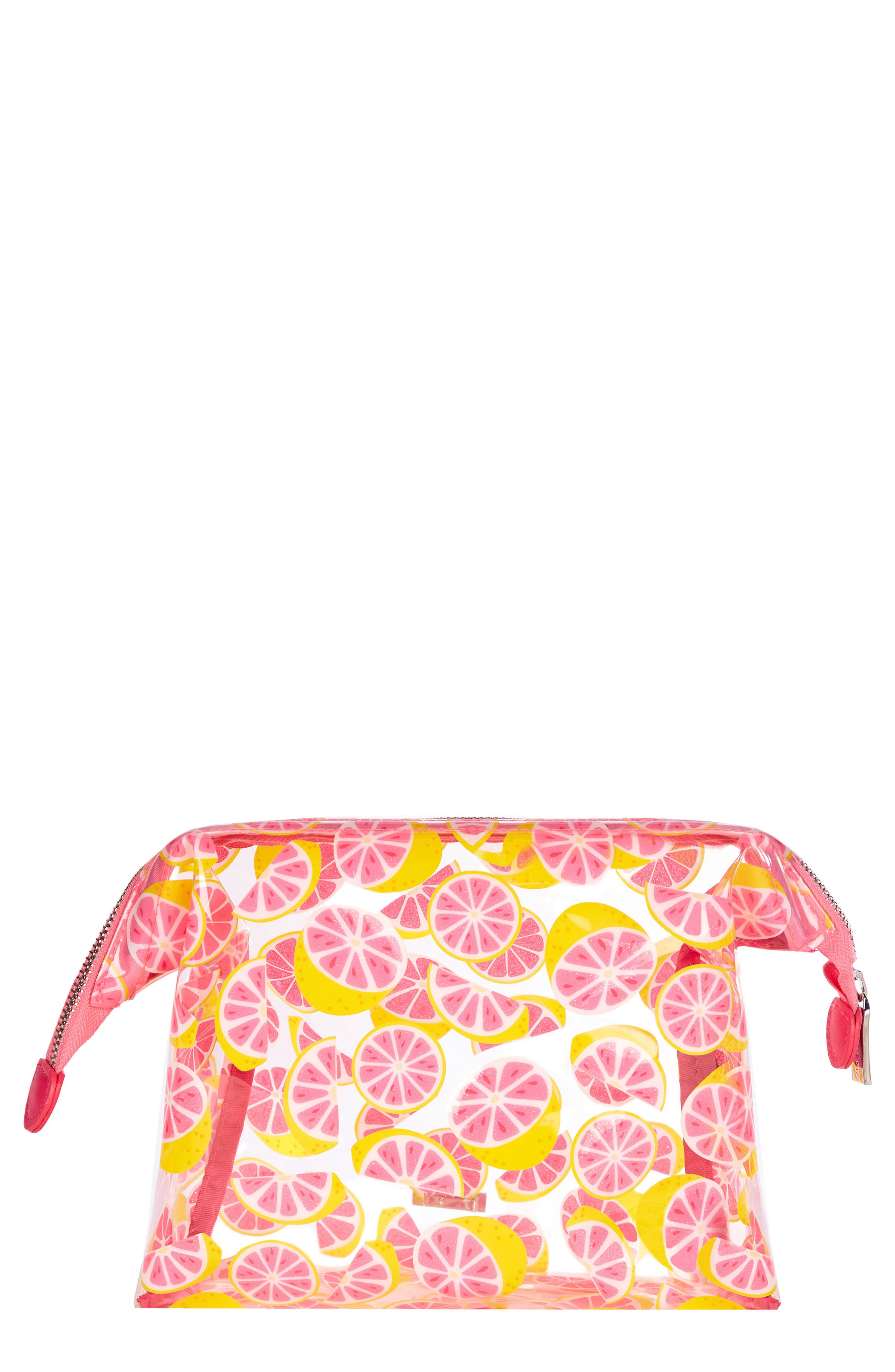Skinny Dip Glitter Grapefruit Cosmetics Case,                         Main,                         color, No Color