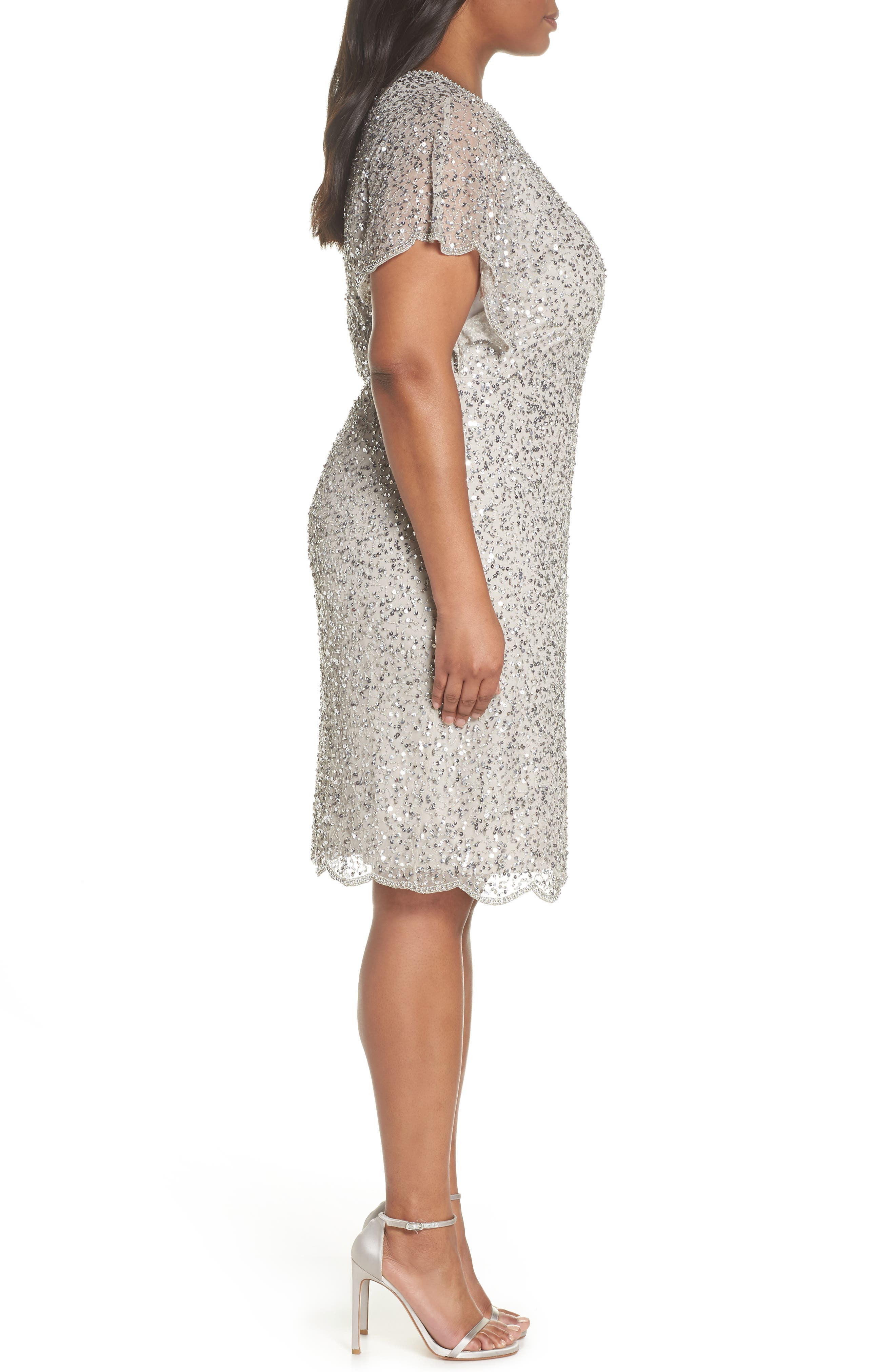 Beaded Flutter Sleeve Sheath Dress,                             Alternate thumbnail 3, color,                             Silver