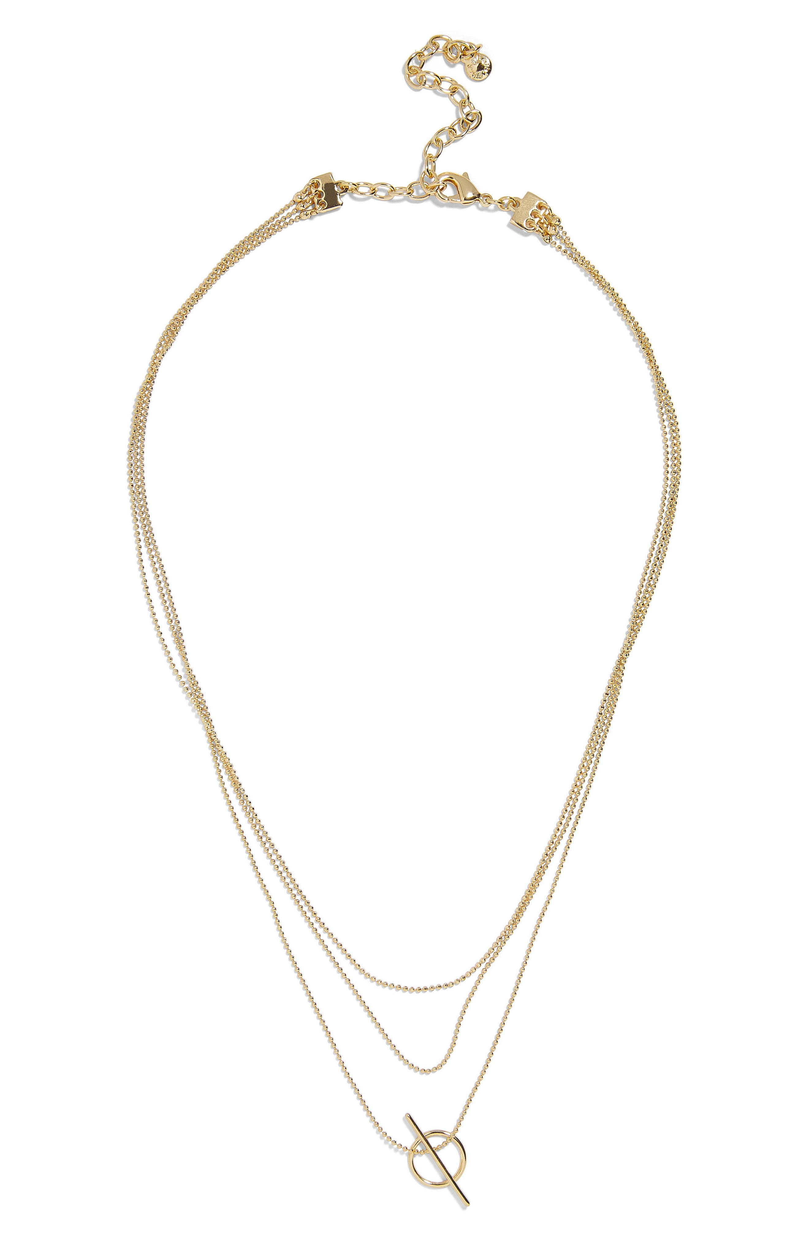 Delicate Bead Chain Necklace,                             Main thumbnail 1, color,                             Gold